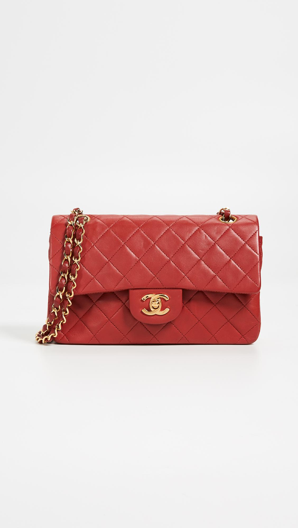 19b5f8a0f9c2 What Goes Around Comes Around Chanel Red Lambskin Classic Flap Bag ...