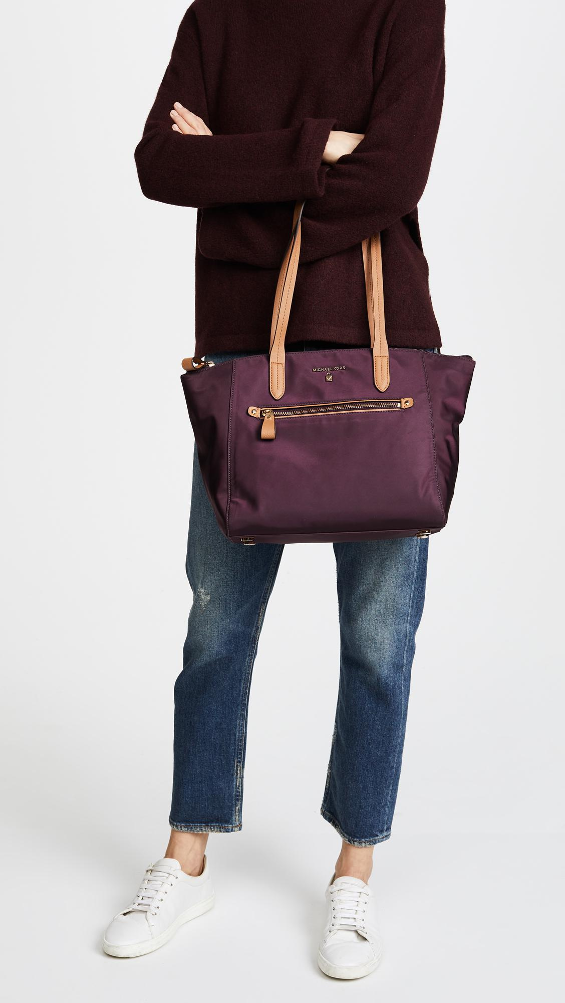 0be7a8a91949 Michael Michael Kors Nylon Kelsey Medium Top Zip Tote in Purple - Lyst