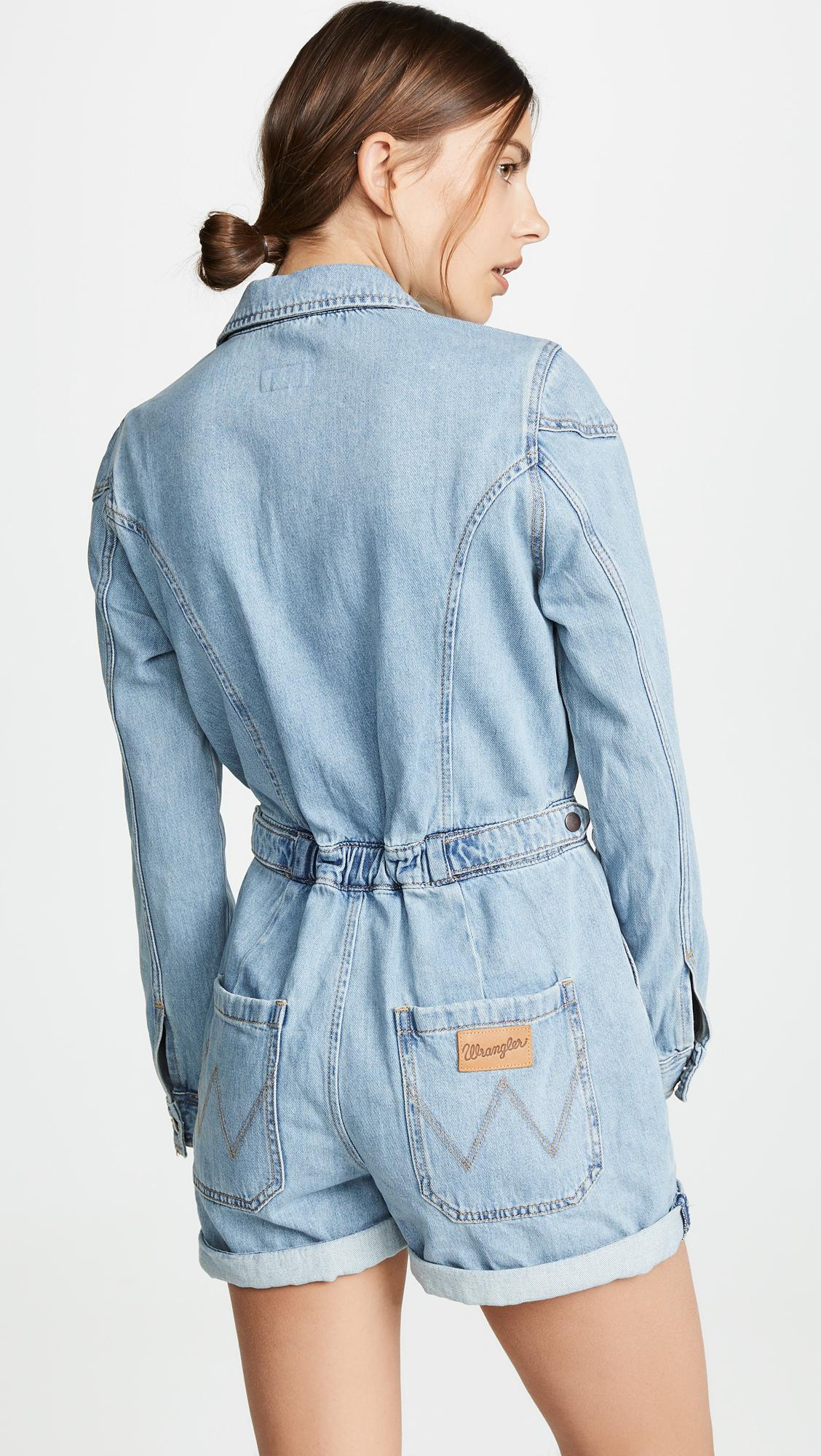 b0916a3b4be Wrangler - Blue Denim Romper - Lyst. View fullscreen