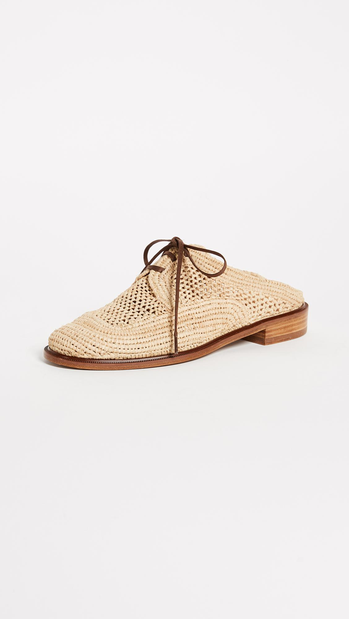 Robert Clergerie Women's Jaly Raffia Lace Up Mules 7pssdt0O