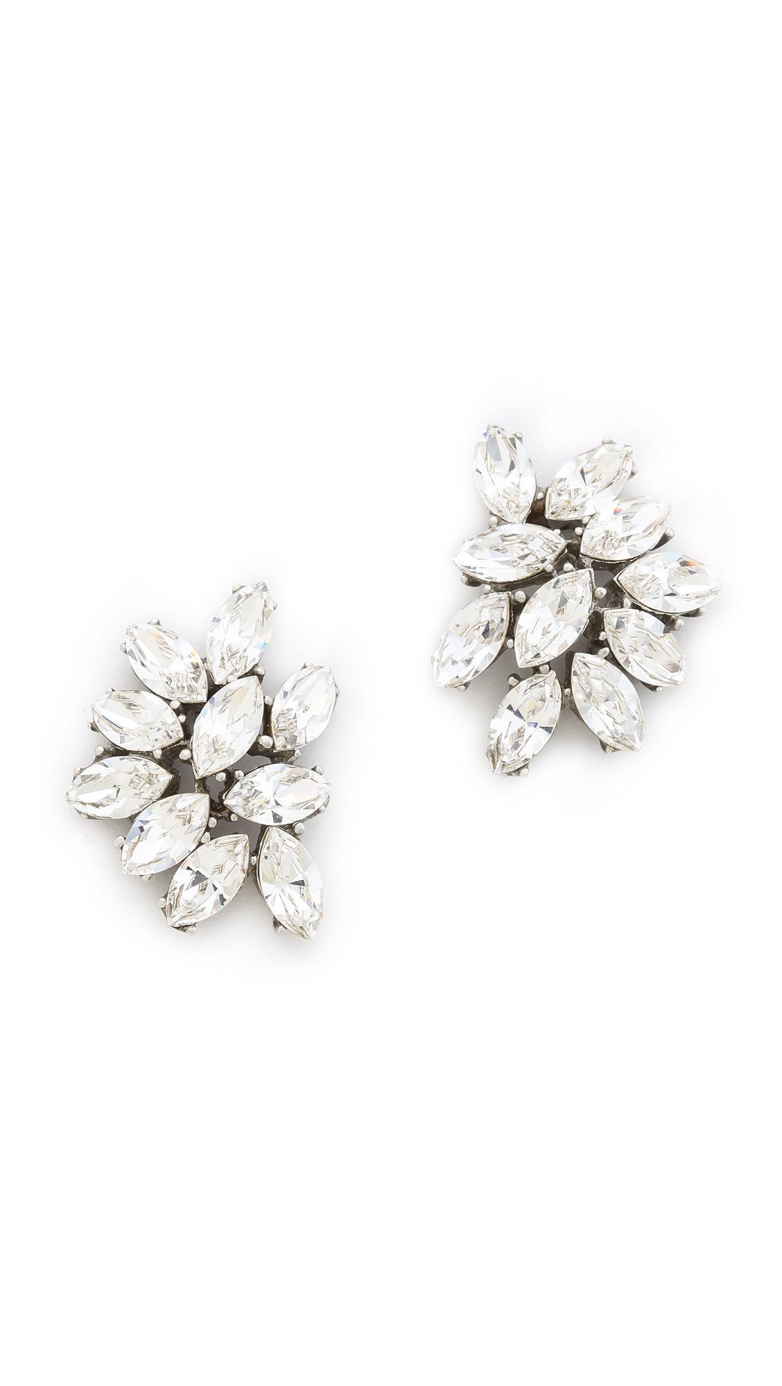 Ben-Amun Double Teardrop Crystal Dangle Clip Earrings I38oJLlA