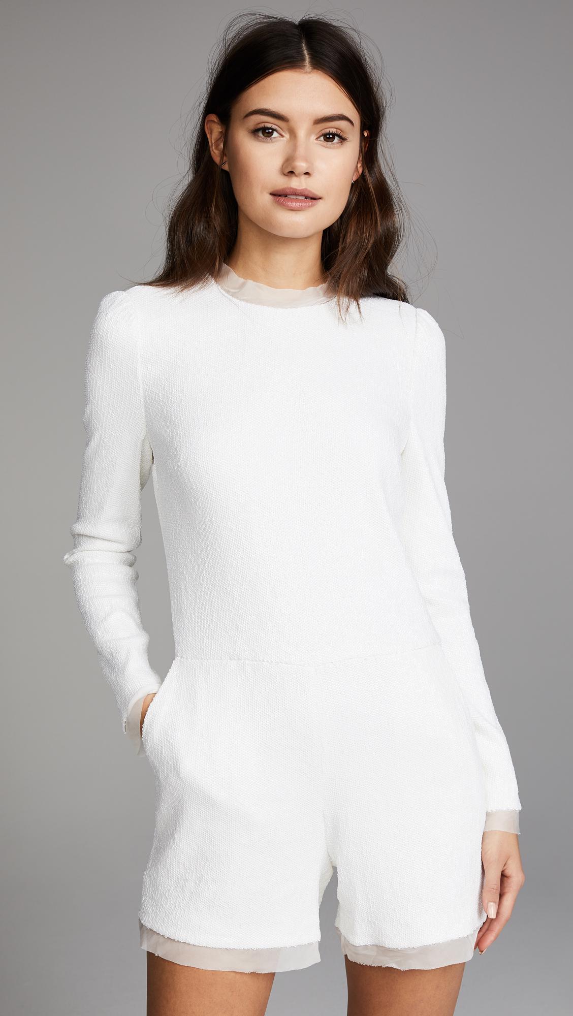 82be19b6d45 Lyst - Rachel Zoe Vera Fluid Sequin Romper in White