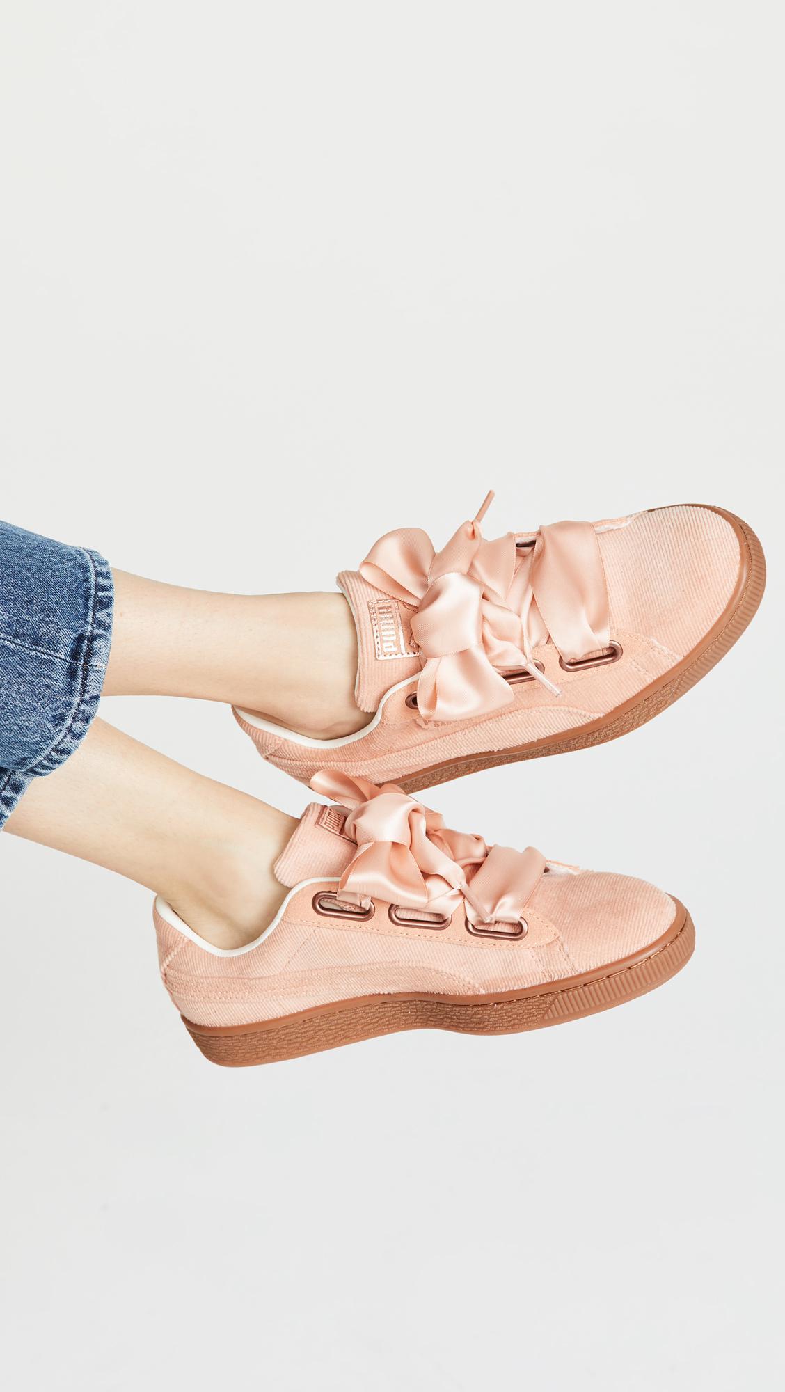 454fa7039f557 Lyst - PUMA Basket Heart Corduroy Sneakers in Pink