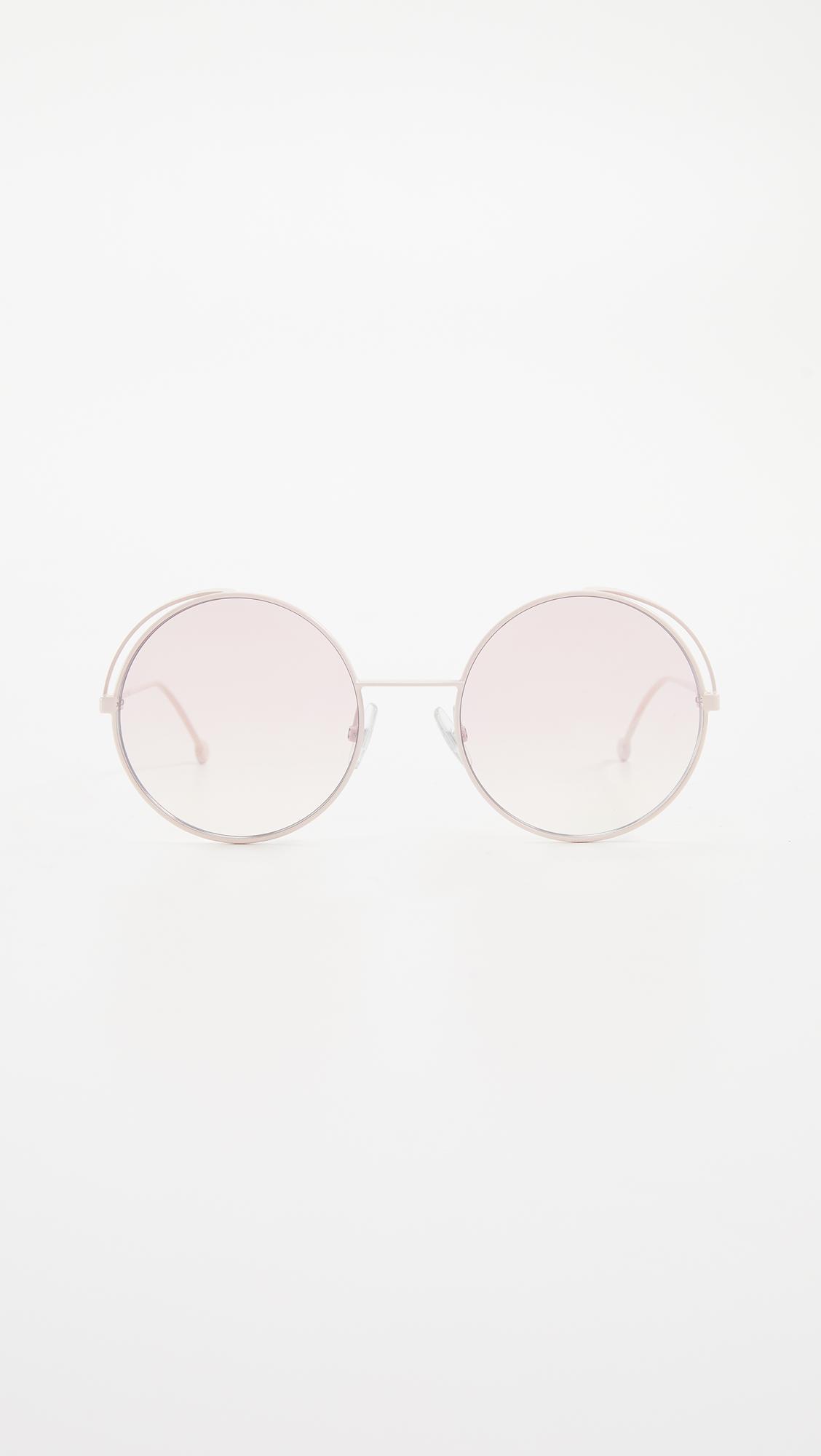 ee4effc046a3 Fendi - Pink Round Metal Logo Sunglasses - Lyst. View fullscreen