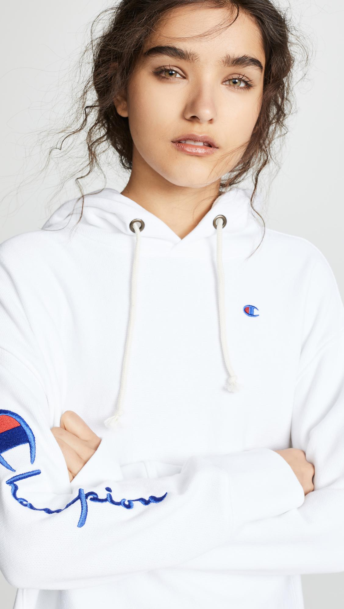Lyst - Champion Maxi Hooded Sweatshirt in White 4274afe05