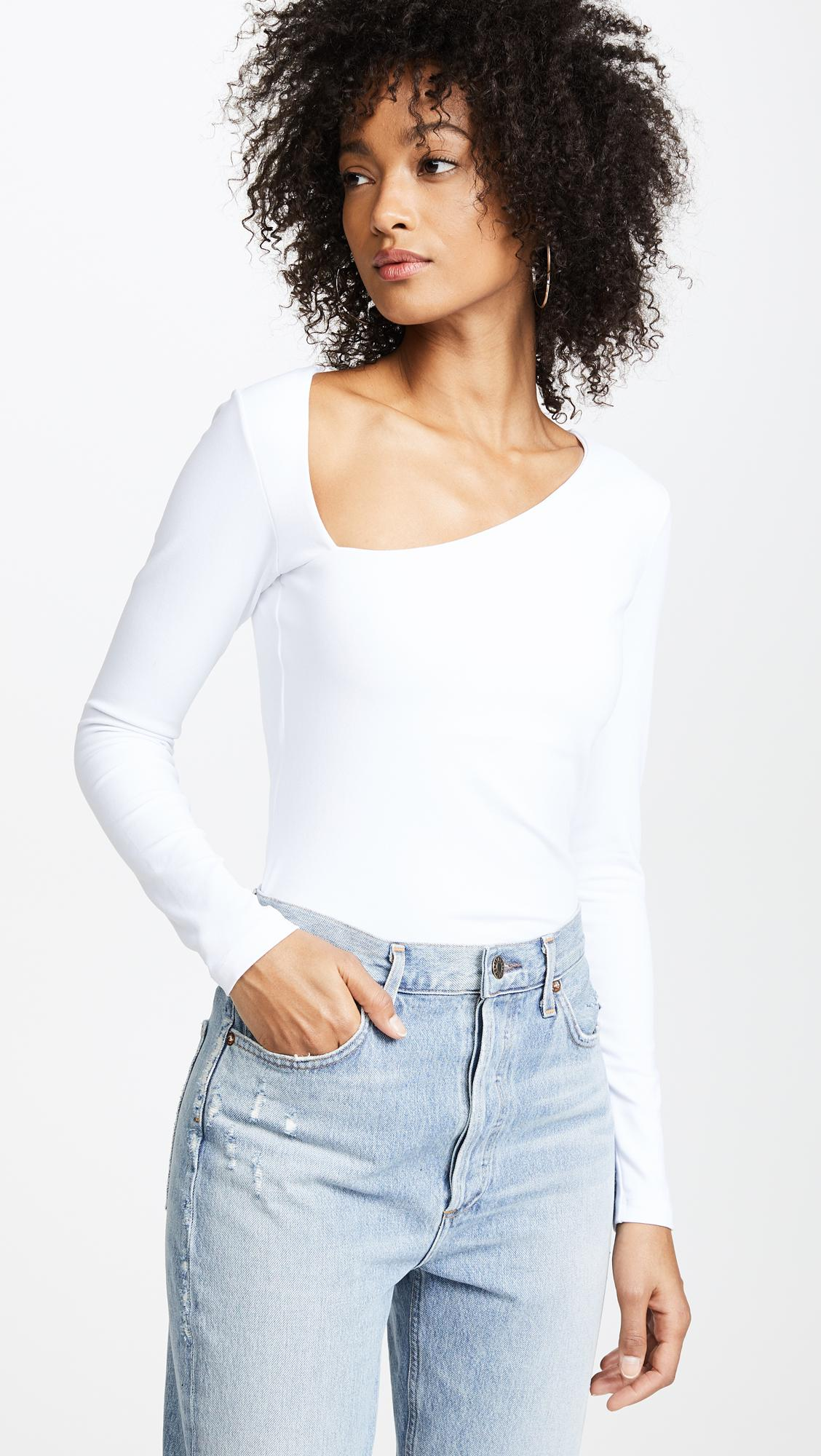 b0c4e270371e5 Lyst - Susana Monaco Laurene Diagonal Neck Top in White