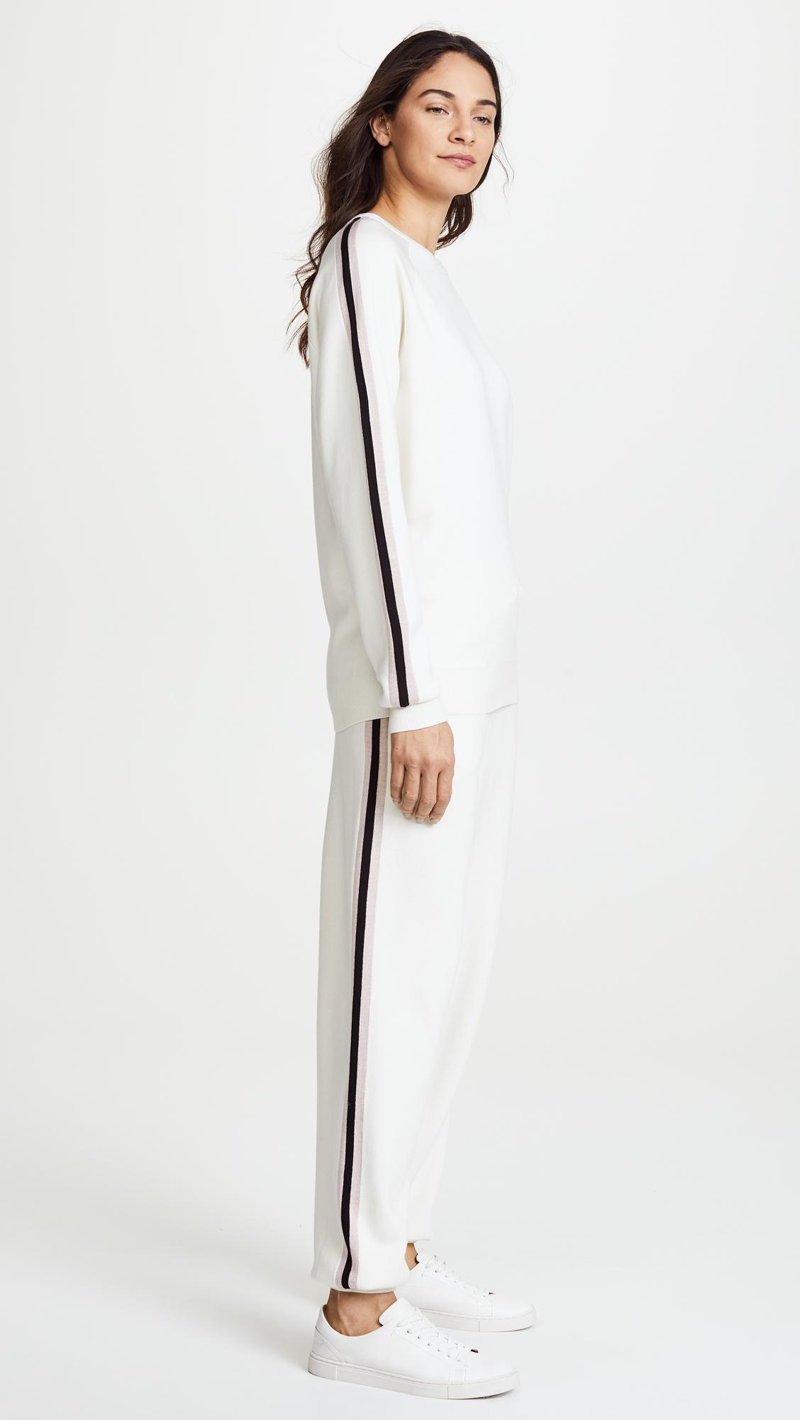 Missy Moscow Striped Silk-blend Sweatshirt And Track Pants Set - Ivory Olivia Von Halle FOuaukKbGc
