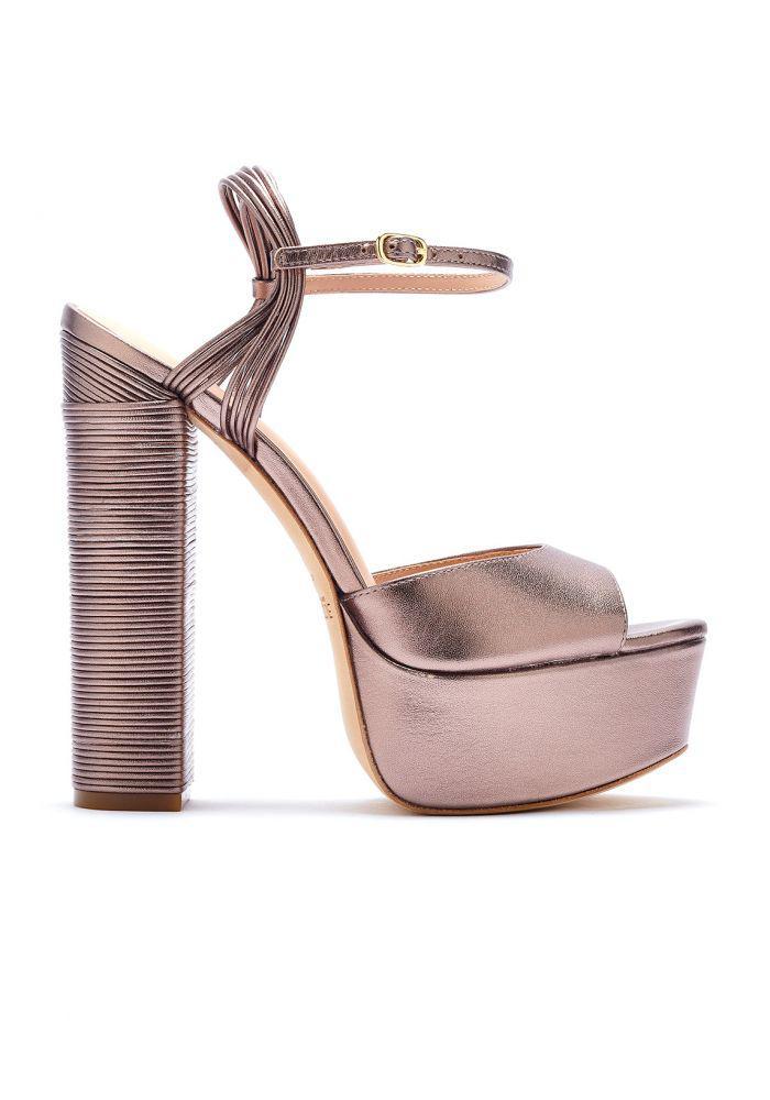 Rachel Zoe Woman Willow Metallic Leather Platform Sandals Rose Gold Size 7.5 Rachel Zoe uBEx2