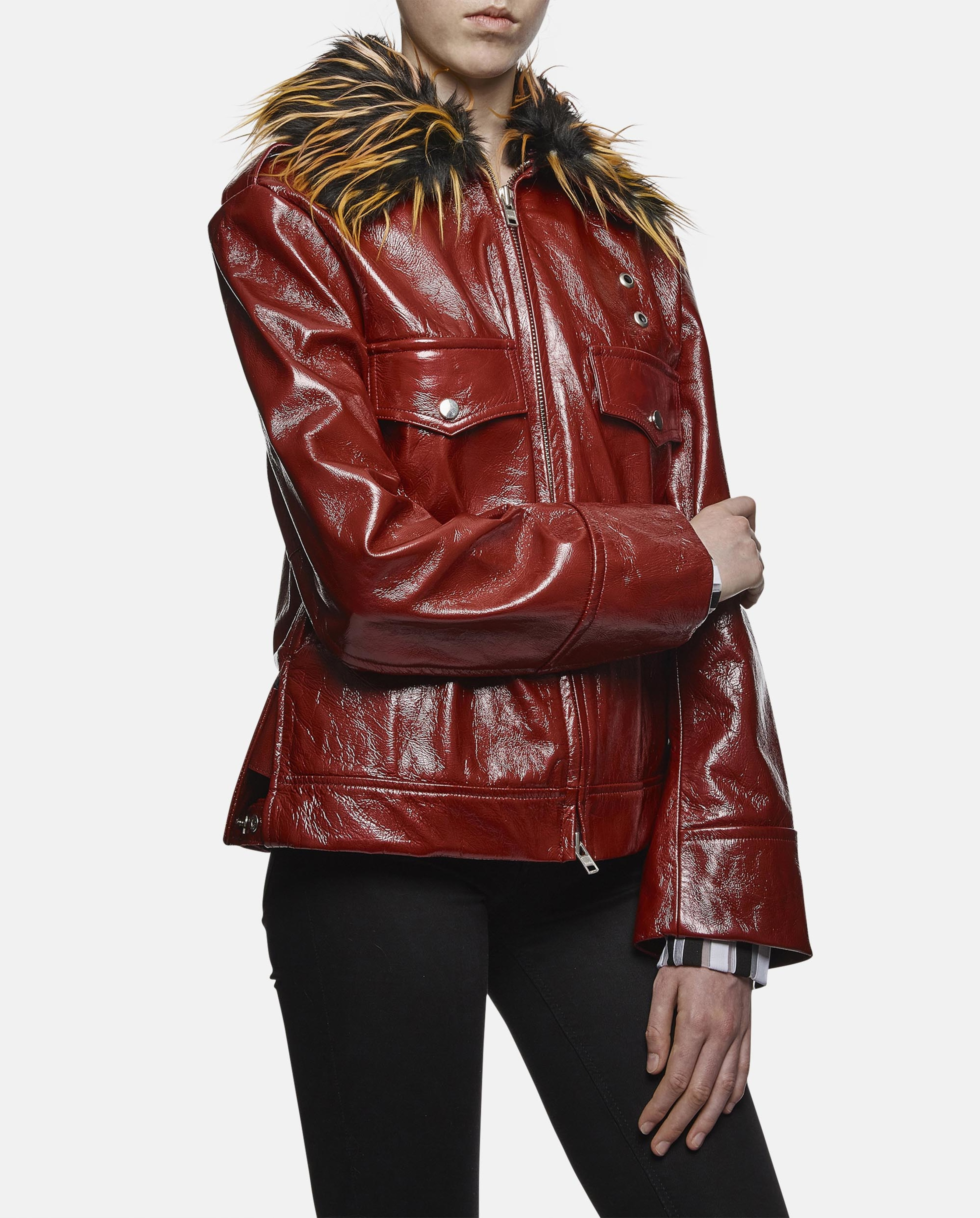 Lyst Nicopanda Leather Jacket With Faux Fur Collar