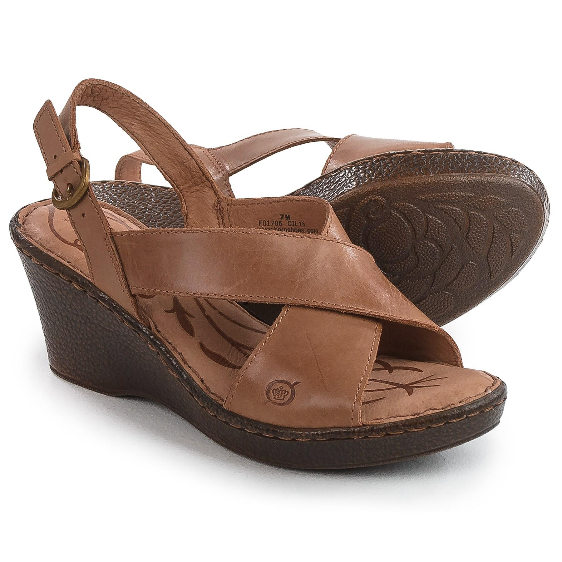 c3a7ddda3755 Lyst - Born Ashley Cross-strap Wedge Sandals in Brown