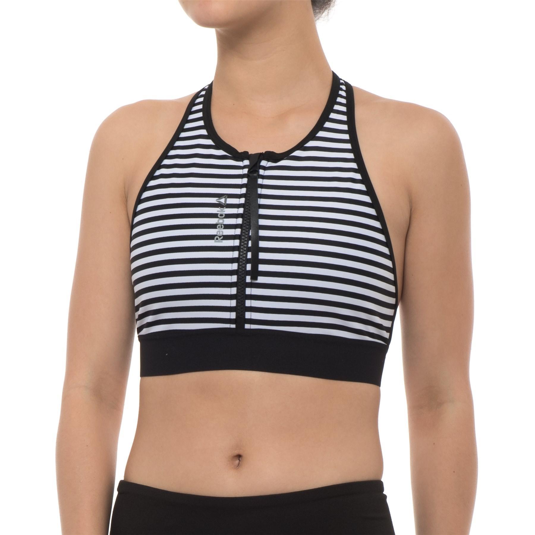 1a06f3d7fb0db Lyst - Reebok Sup Striped Sports Bra (for Women) in Black