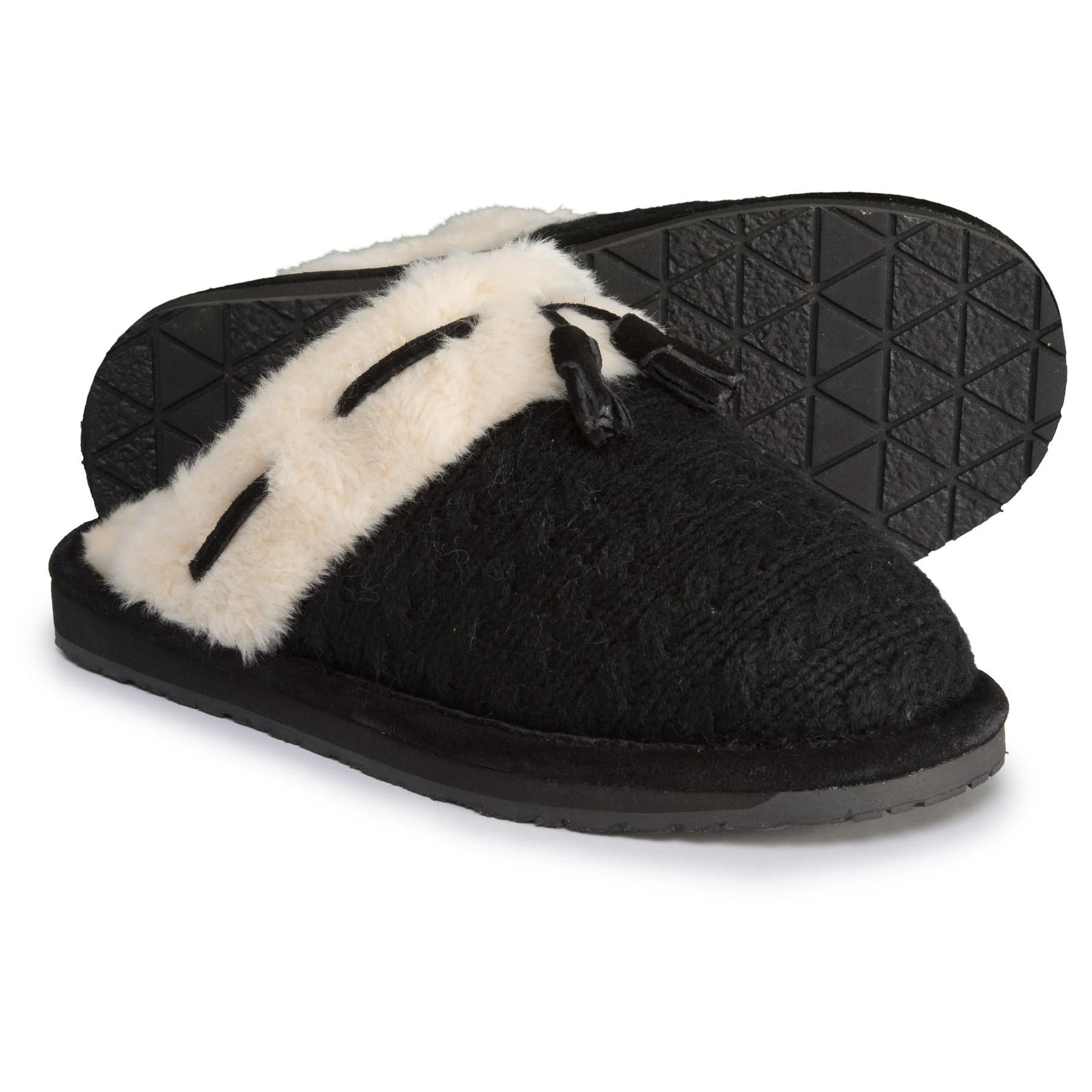 dd9b5417efa Lyst - Clarks Cable Sweater Scuff Slippers (for Women) in Black