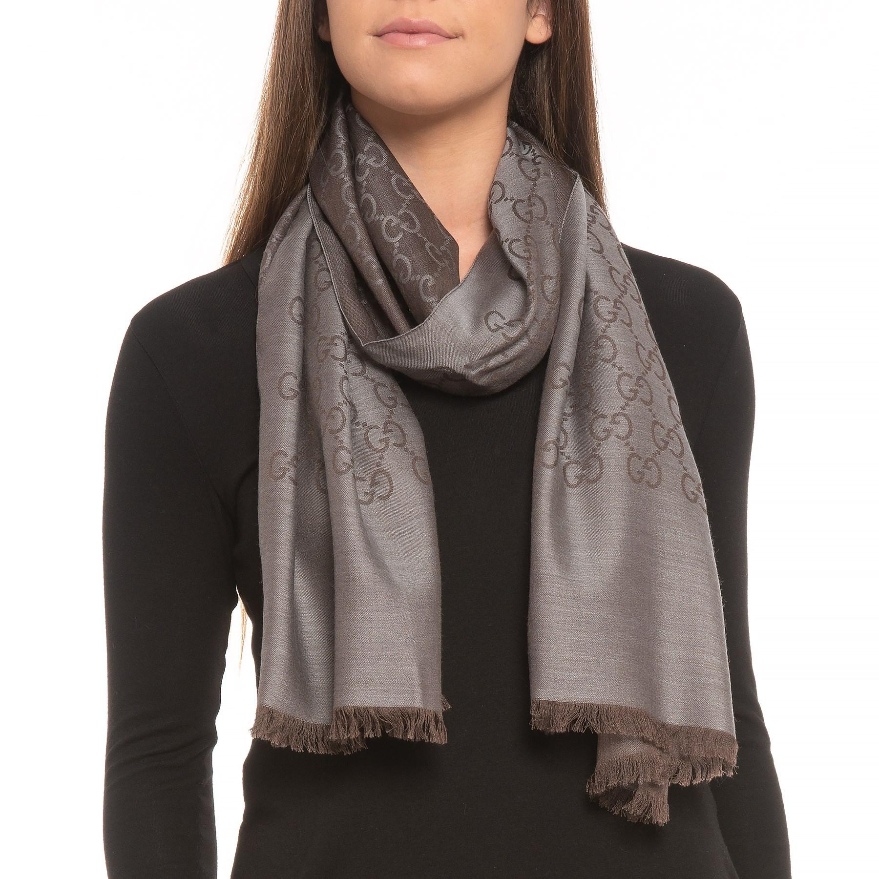 1b6dd7ca9 Gucci Wool And Silk Scarf (for Men And Women) in Brown - Lyst