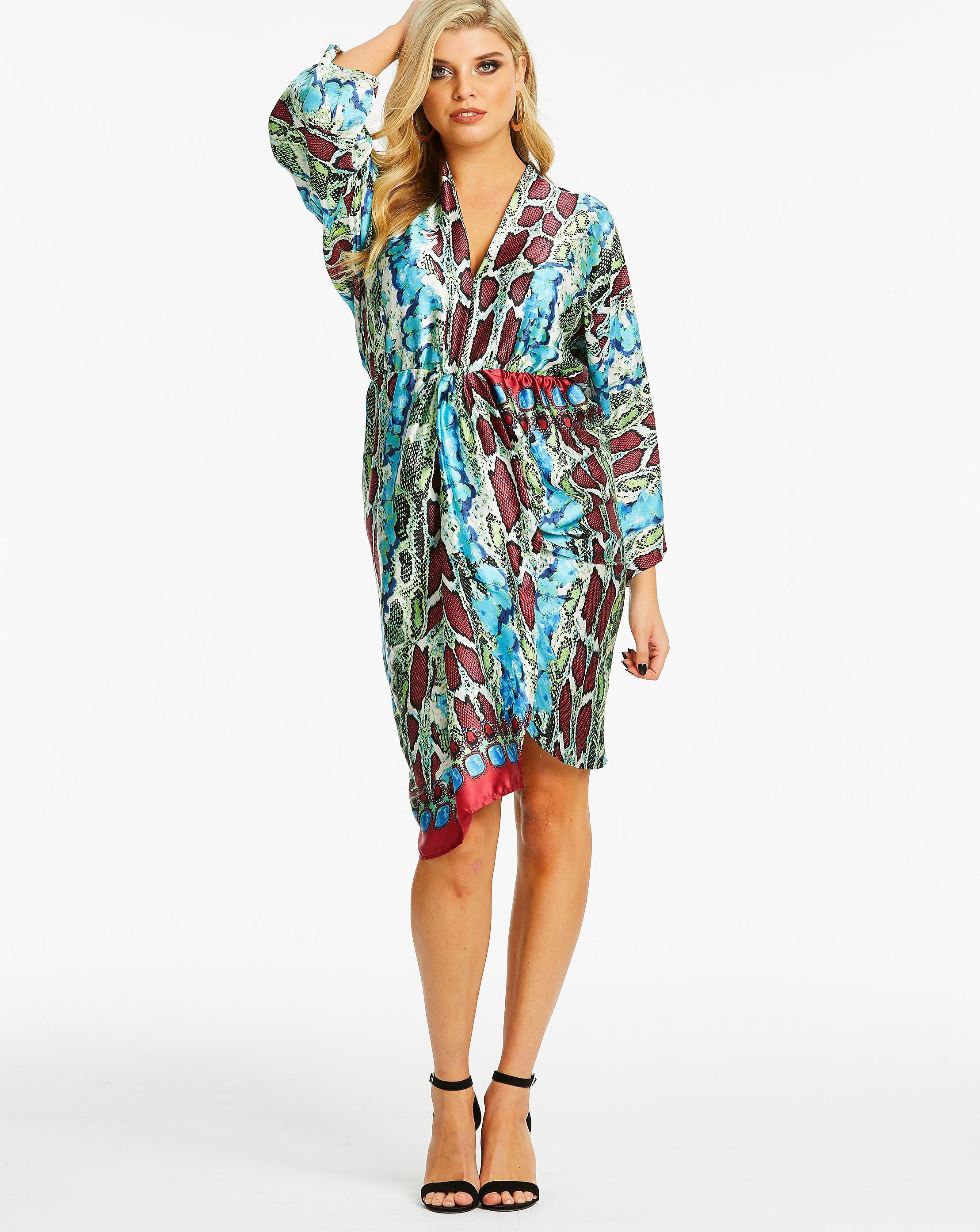 c51d1b52fe2 Lyst - Simply Be Ax Paris Curve Kimono Sleeve Midi Dress in Blue