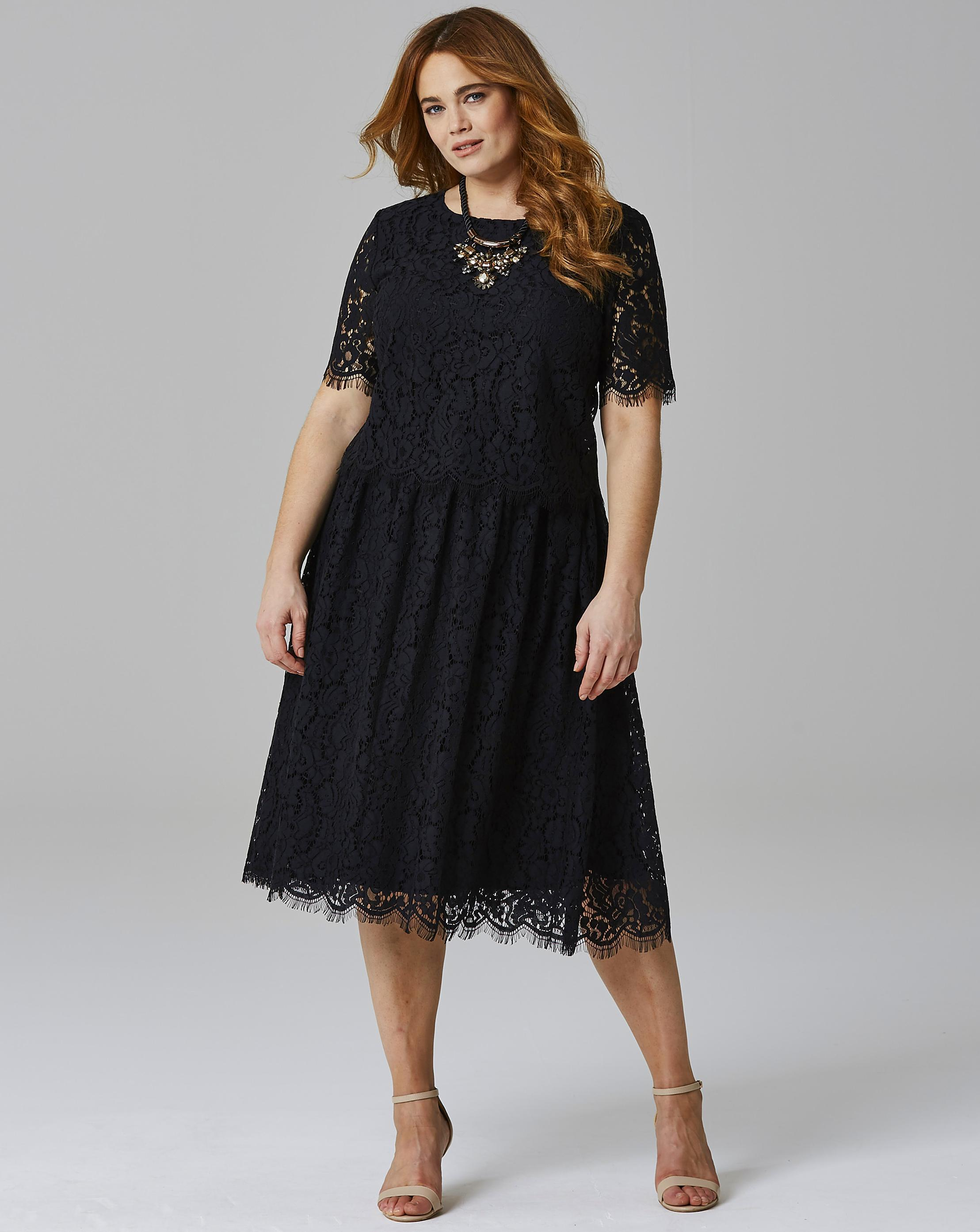 Lyst - Simply Be Lace Layer Prom Dress in Black