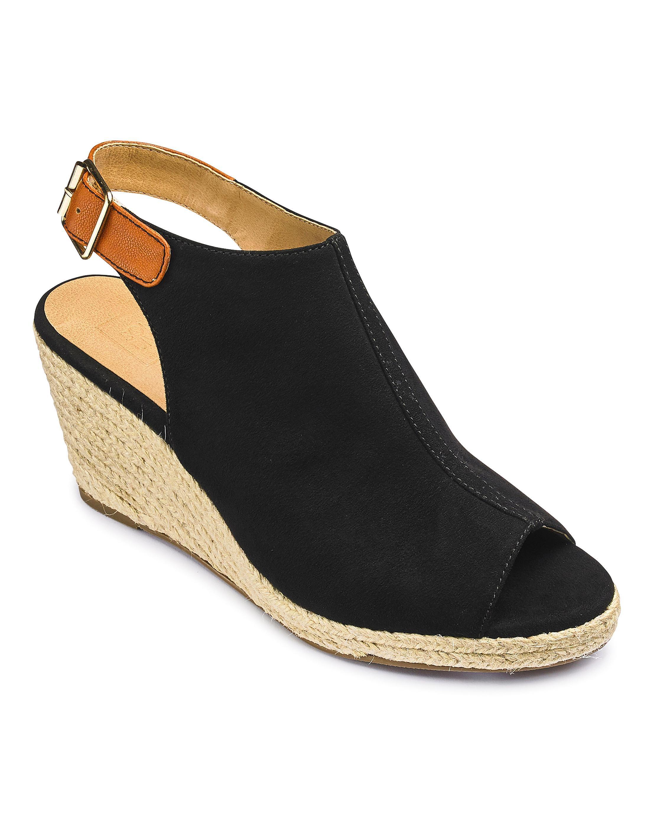 4ff7dacb8c94 Lyst - Simply Be Sole Diva Peep Toe Wedge Eee Fit in Black