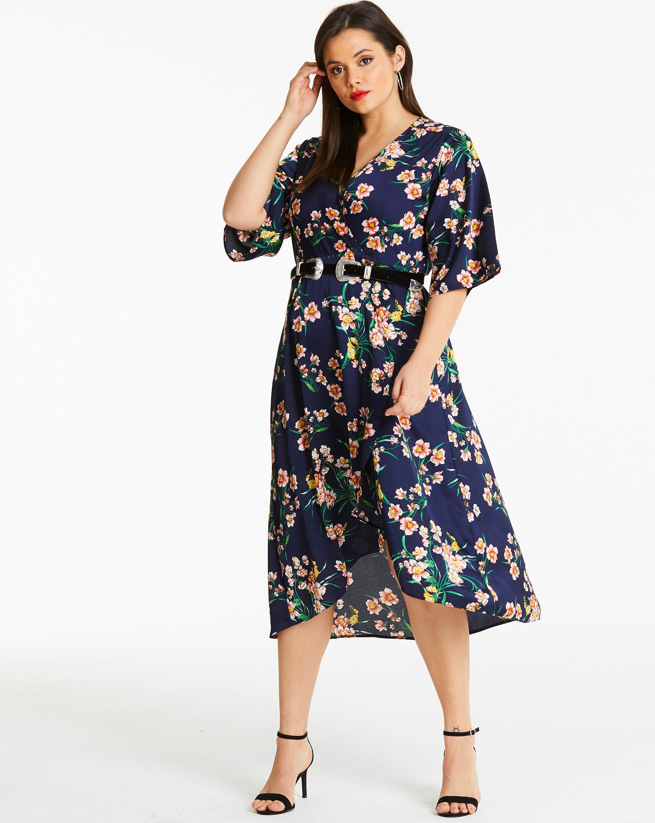 Lyst - Simply Be Ax Paris Floral Satin Wrap Dress in Blue 7a091f093