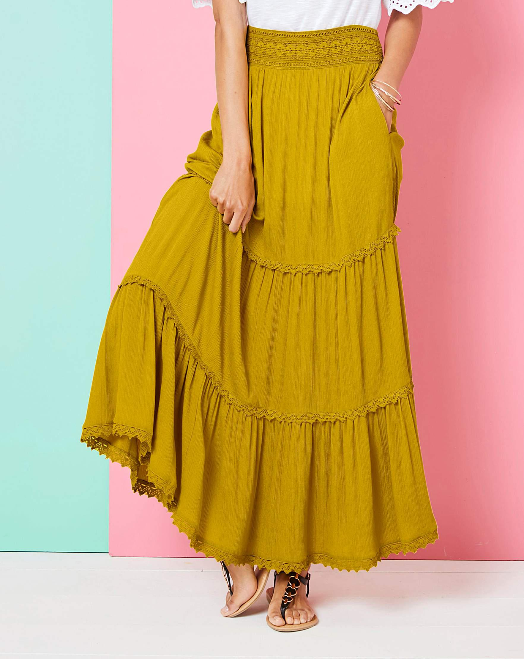 ec0facb9d0f Simply Be Crochet Trim Tiered Maxi Skirt in Yellow - Lyst