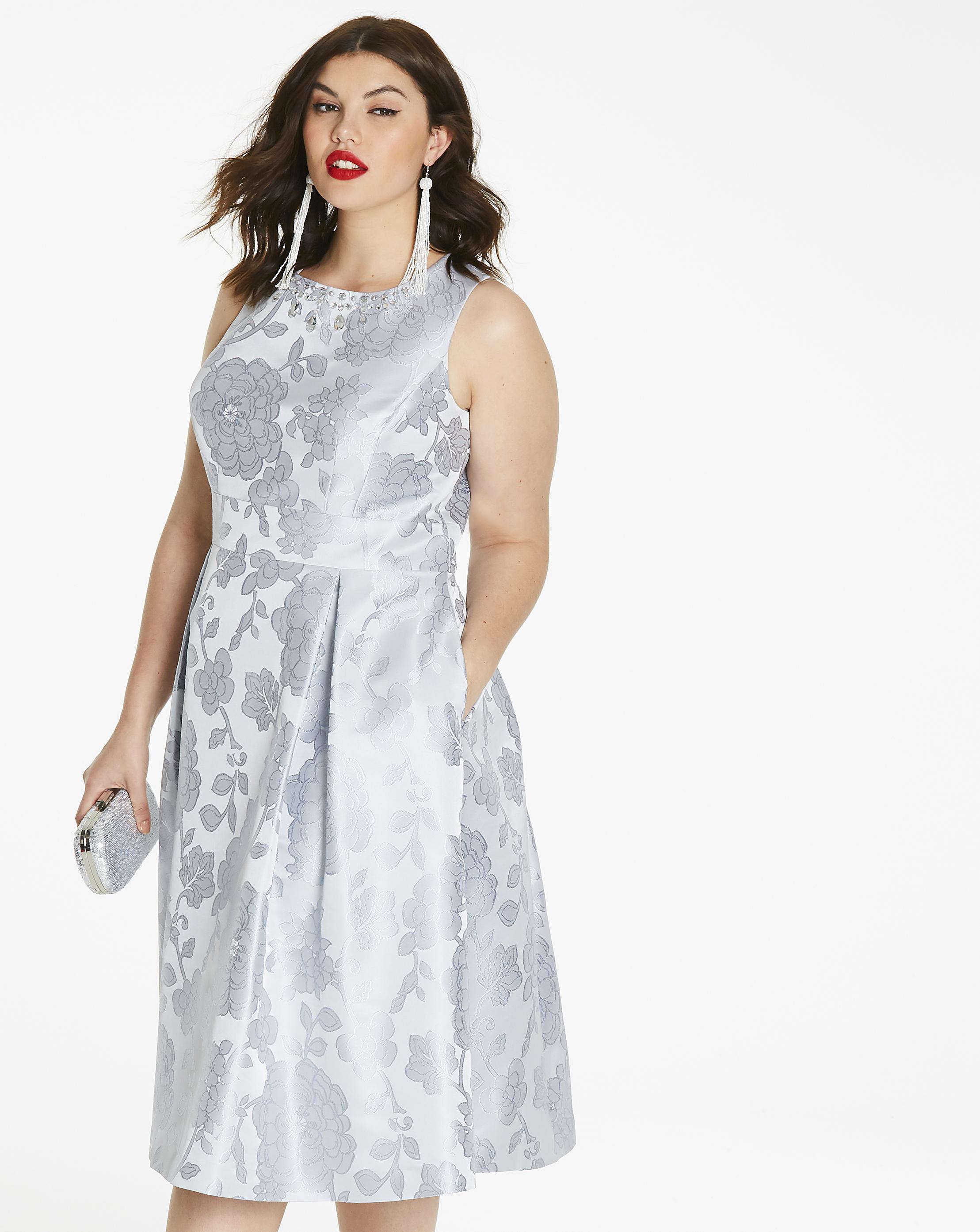 Lyst - Simply Be Joanna Hope Jacquard Prom Dress in Metallic
