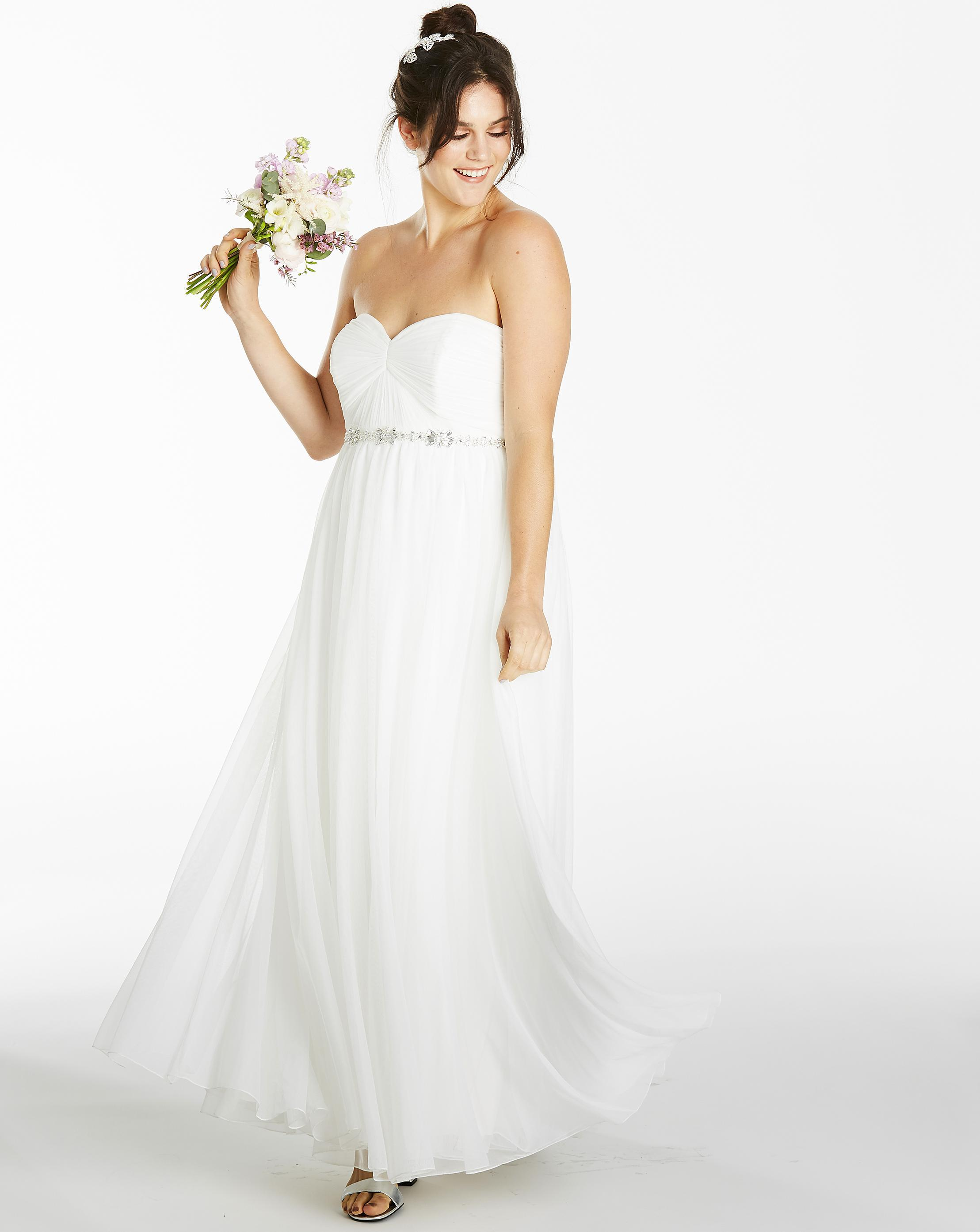 4769d849b13 Lyst - Simply Be Joanna Hope Bead Trim Dress in White