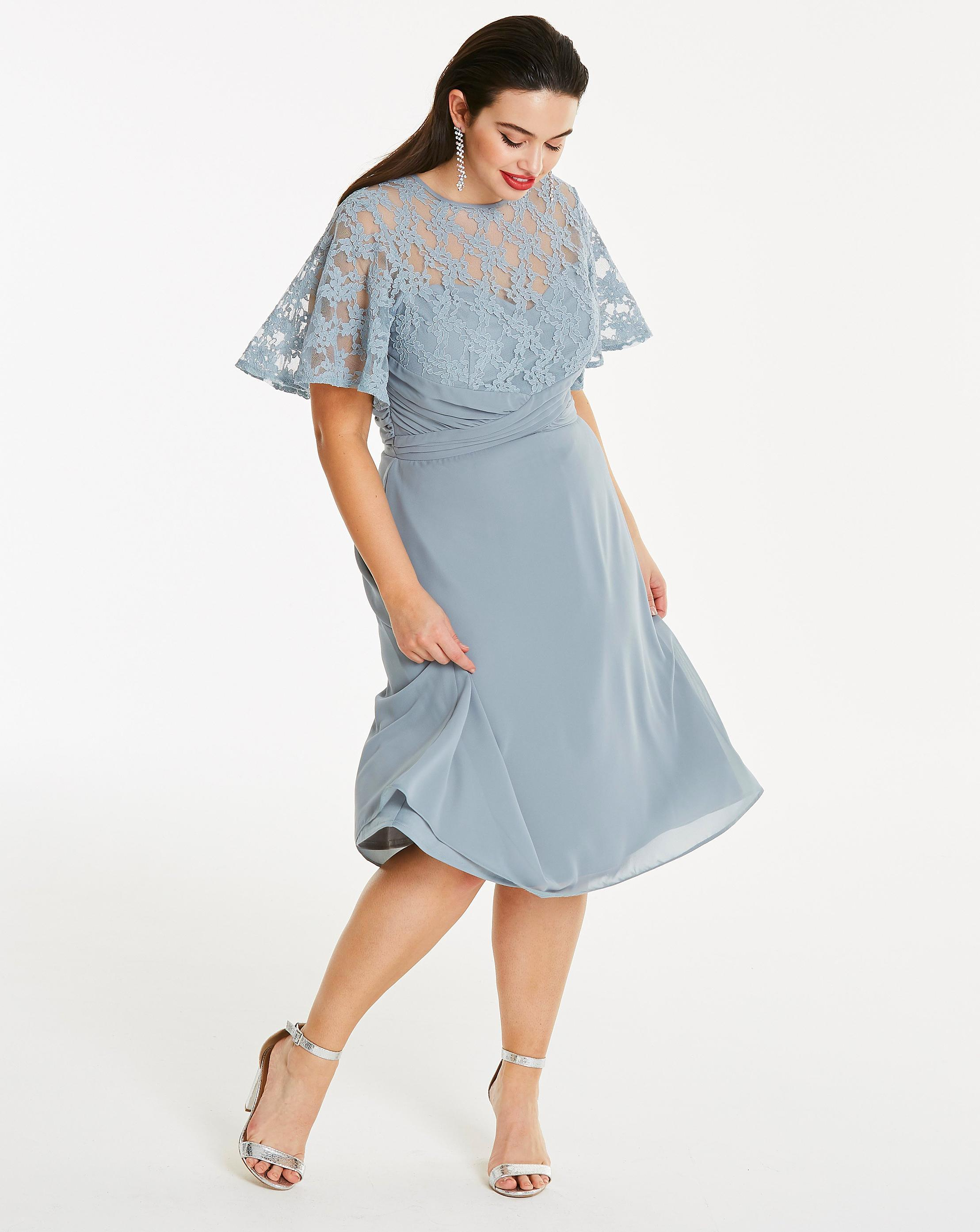 7e4b405df0a6 Lyst - Simply Be Elise Ryan Chiffon Dress With Lace Detail Top And ...