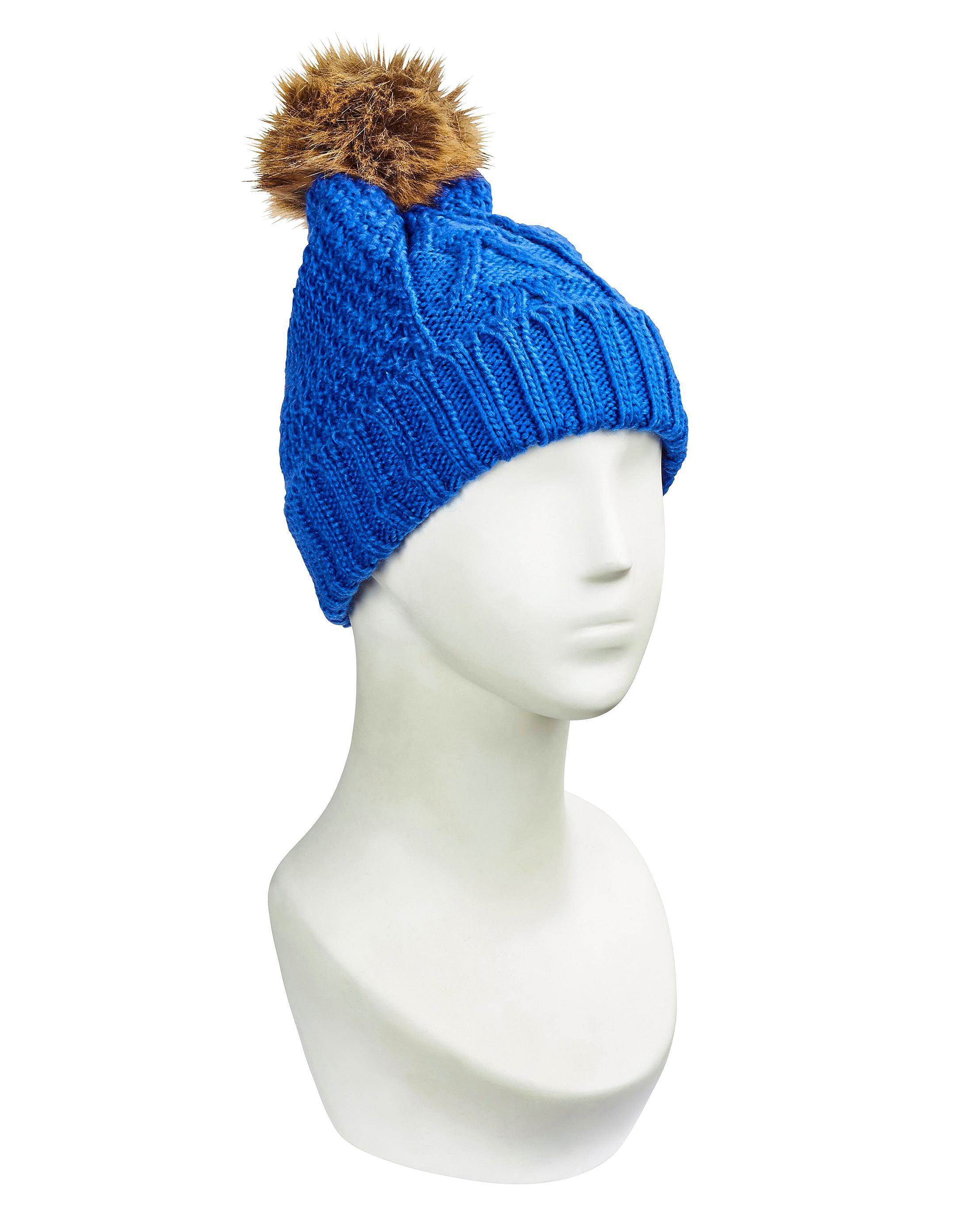 b47c3a1518c37 Lyst - Simply Be Faux Fur Pom Pom Hat in Blue
