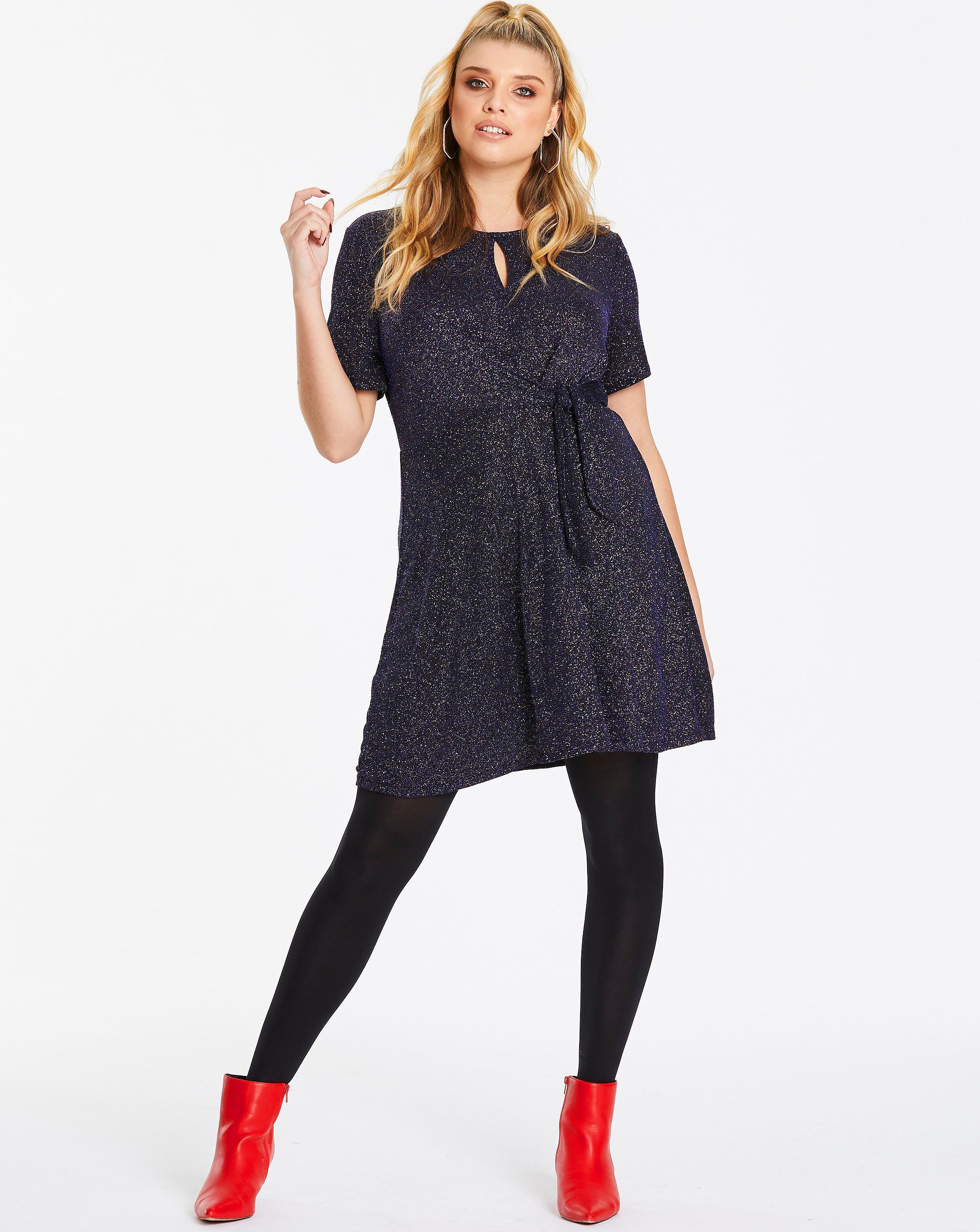 d0fcc623ddf2b Lyst - Simply Be Oasis Curve Glitterball Tie Side Skater Dress in Blue