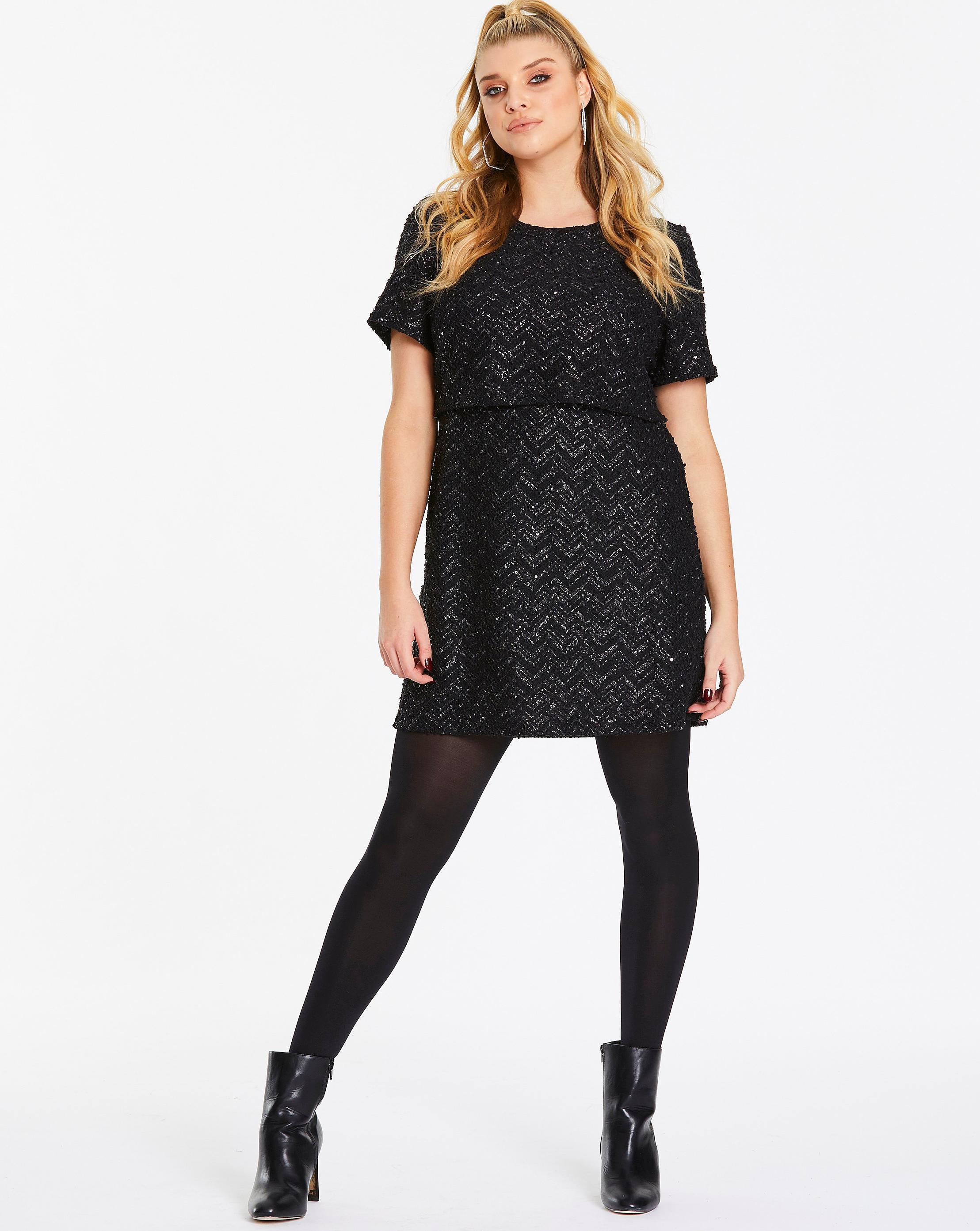 b9bec68cb87a Lyst - Simply Be Oasis Curve Zig Zag Popcorn Dress in Black