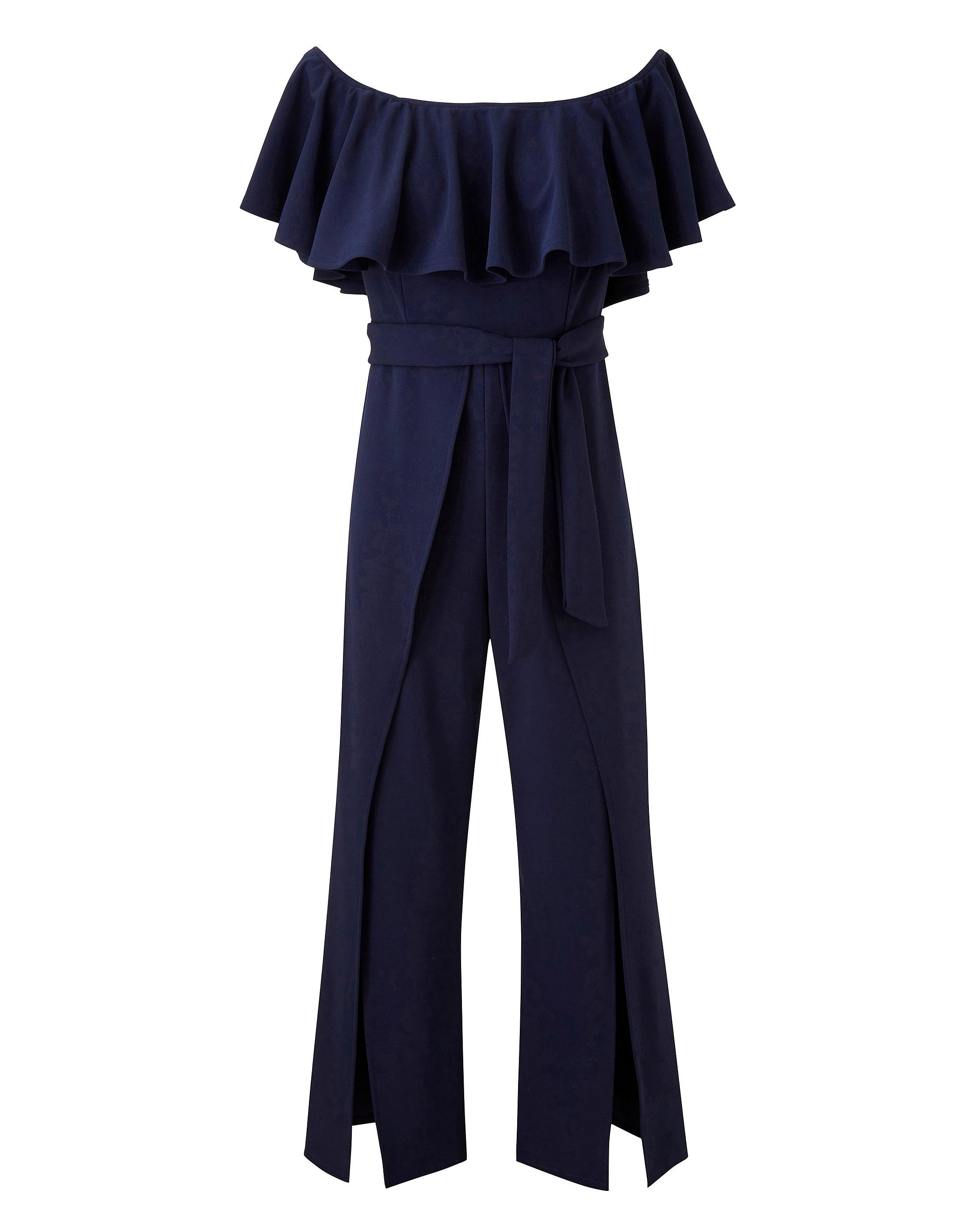 19e711ffd7af Lyst - Simply Be Club L London Frilled Bardot High Split Jumpsuit in Blue