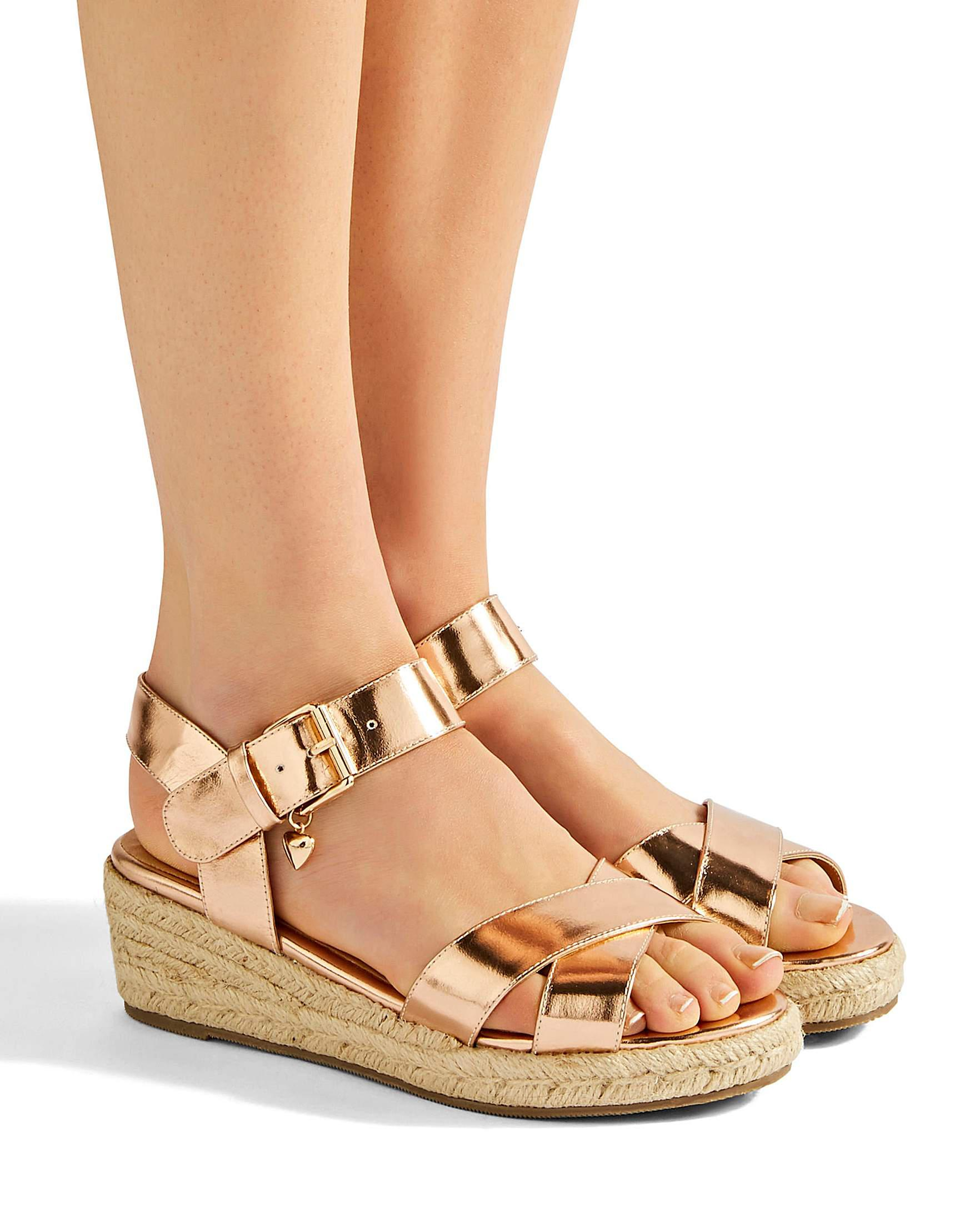 ff62834e2123 Simply Be Frankie Espadrille Wedges in Metallic - Lyst