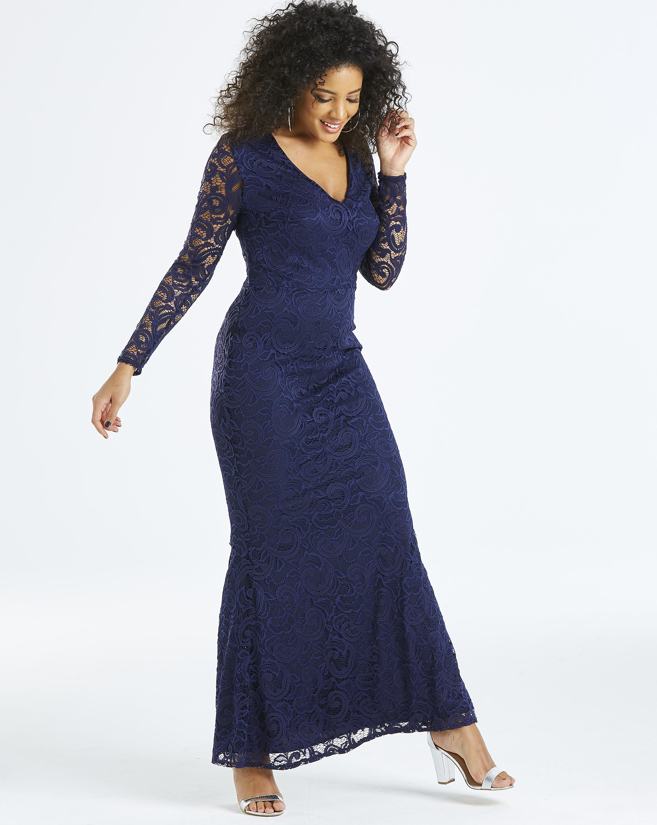 e998f2ede85 Lyst - Simply Be By Night Lace Fishtale Maxi Dress in Blue