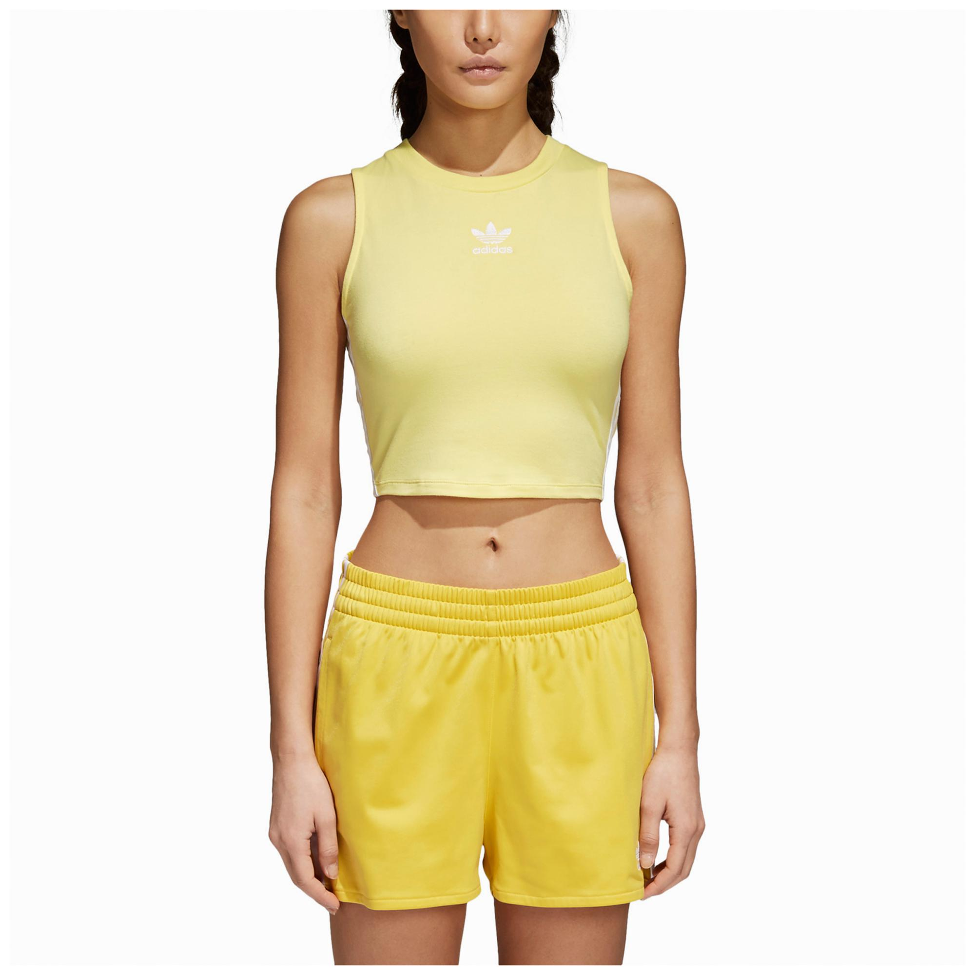d45c13a0f56a6 Lyst - adidas Originals Adicolor Crop Tank in Yellow - Save 52%