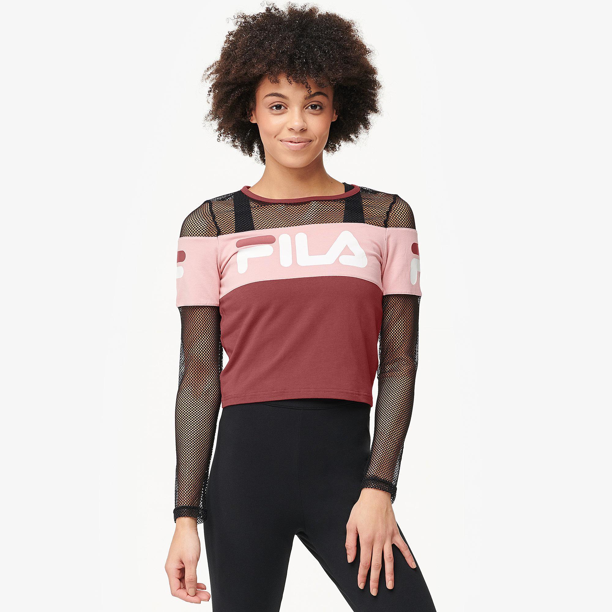 Lyst - Fila Tara Crop Long Sleeve Top in Red 60f8c38c3