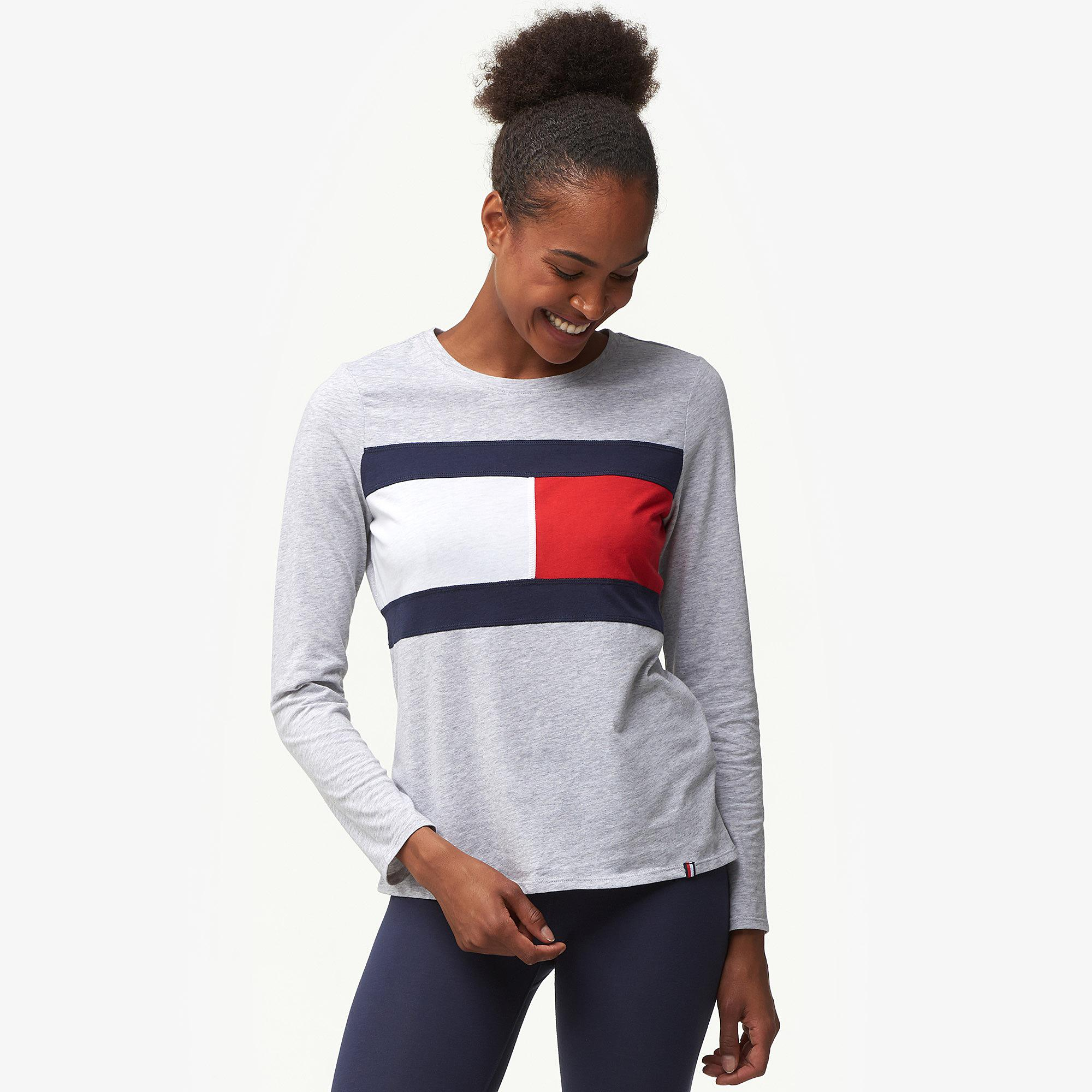 d3b39f71 Tommy Hilfiger Flag Colorblock Long Sleeve T-shirt in Gray - Lyst