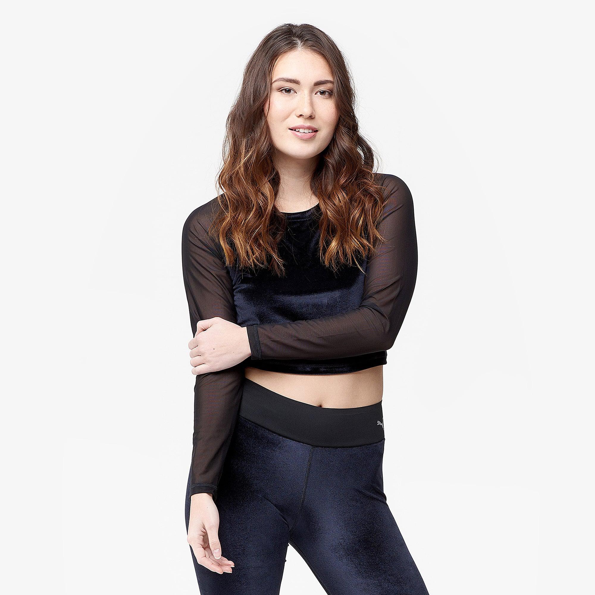 46b92ff1410 Lyst - PUMA Velvet Long Sleeve Crop Top in Black