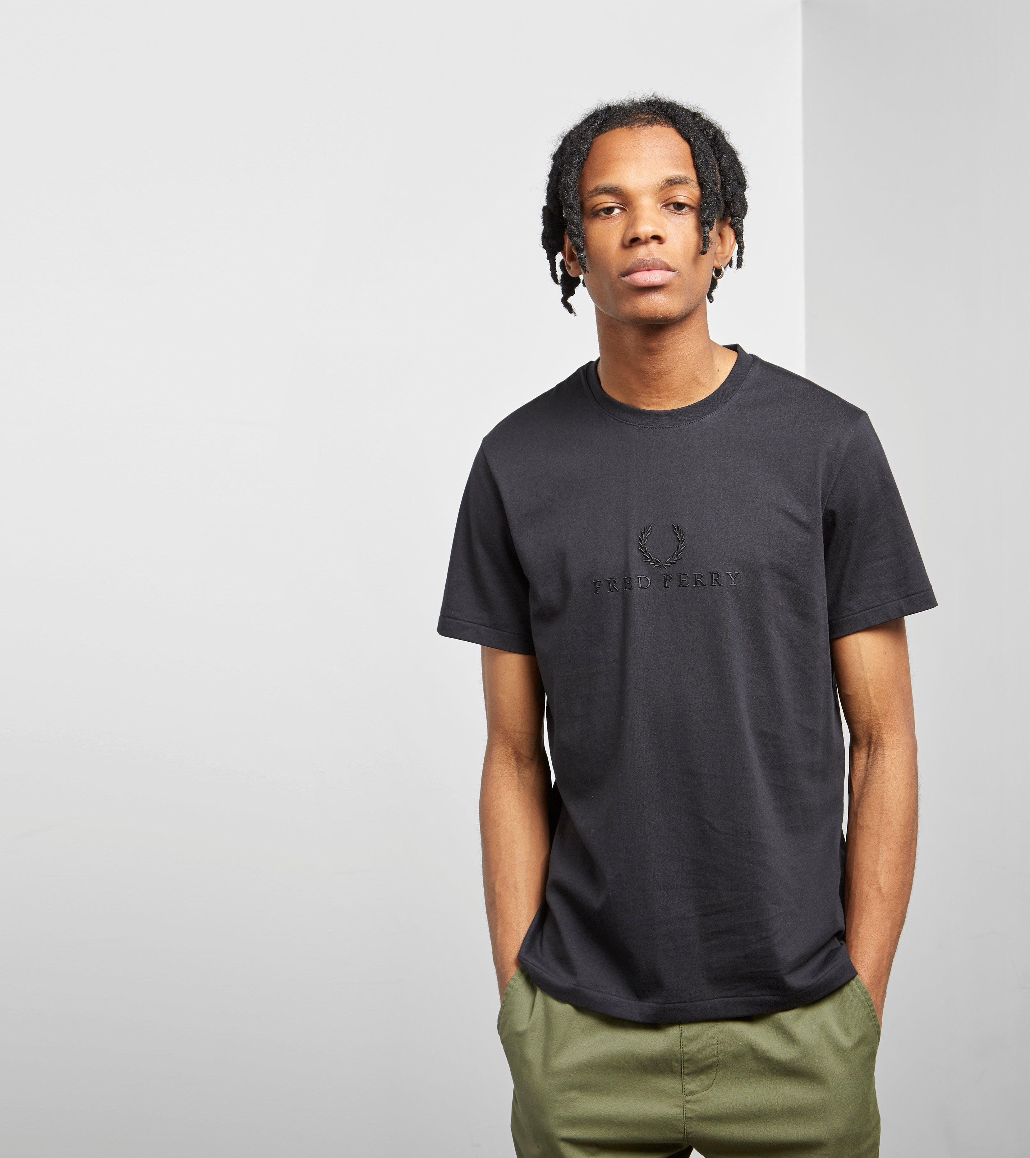 5921b7cb8495 Lyst - Fred Perry Tonal Embroidered T-shirt in Black for Men