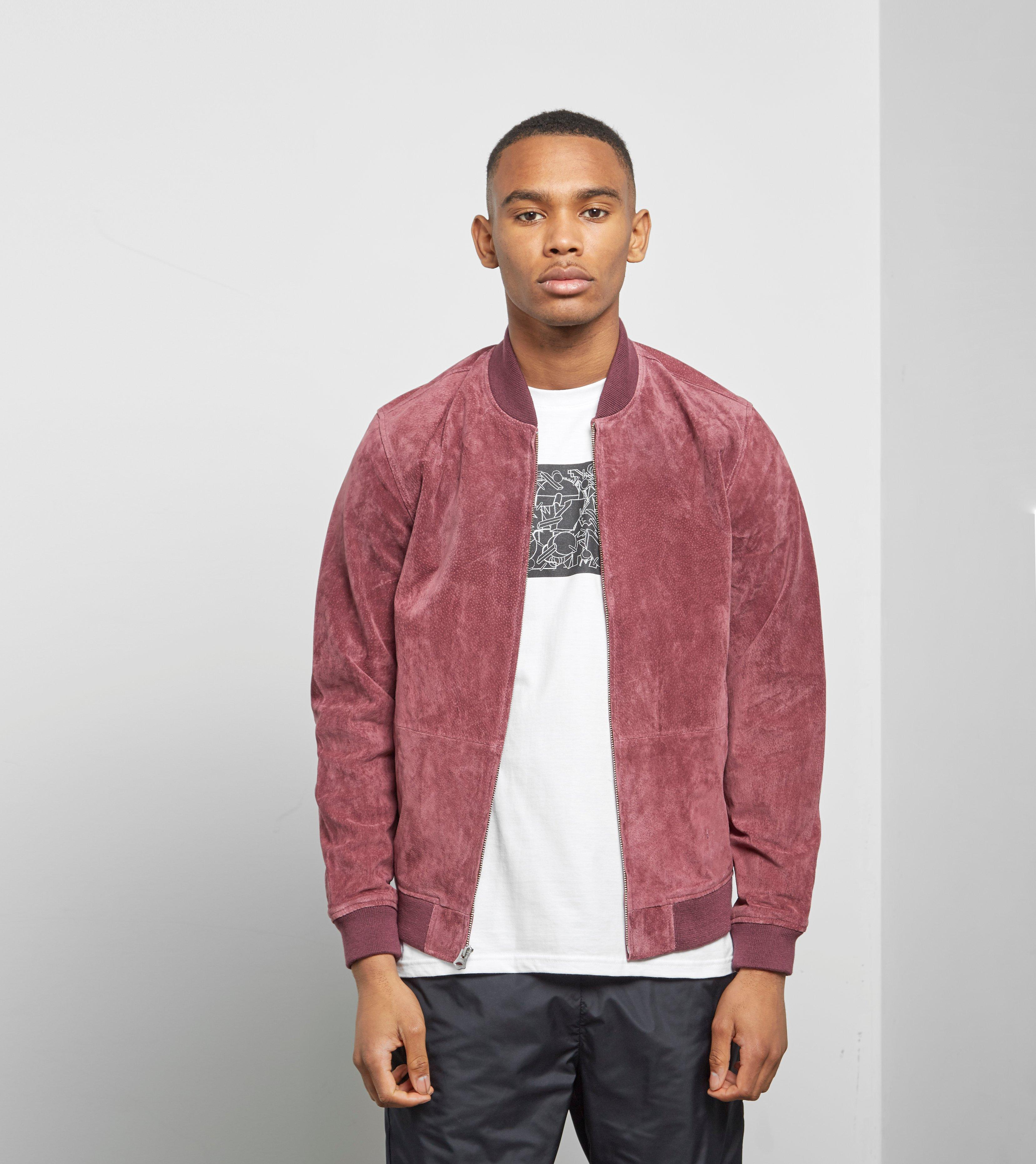 a20c2a92e5fa Obey Clifton Suede Jacket in Red for Men - Lyst
