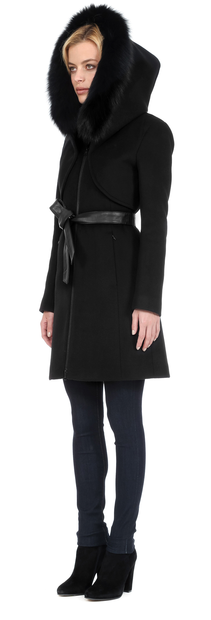 Soia &amp kyo Arya-f6x Wool Coat With Removable Fur Trim Hood In
