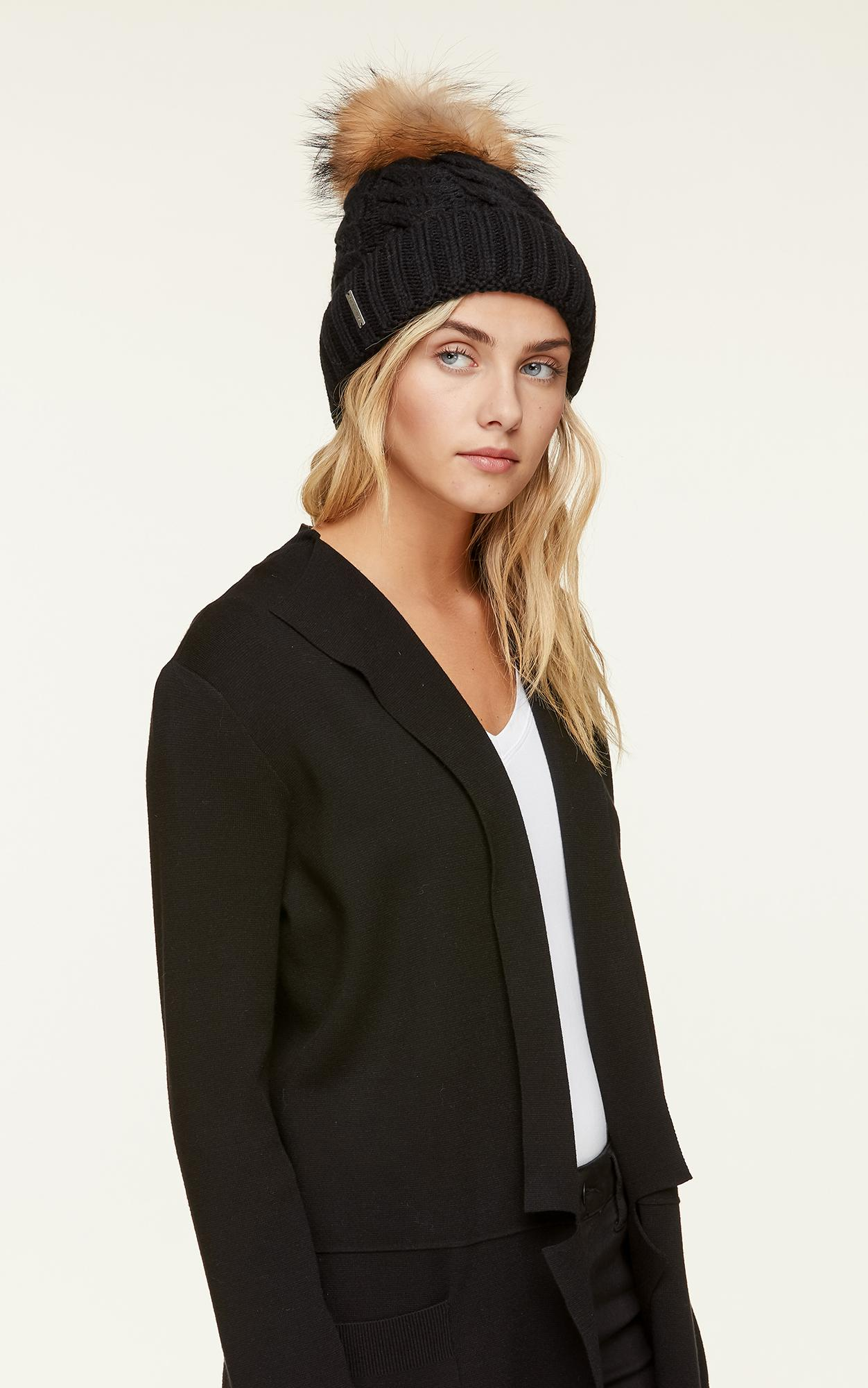 3453fd32887 SOIA   KYO - Black Amalie Cable Knit Hat With Removable Pom Pom - Lyst.  View fullscreen
