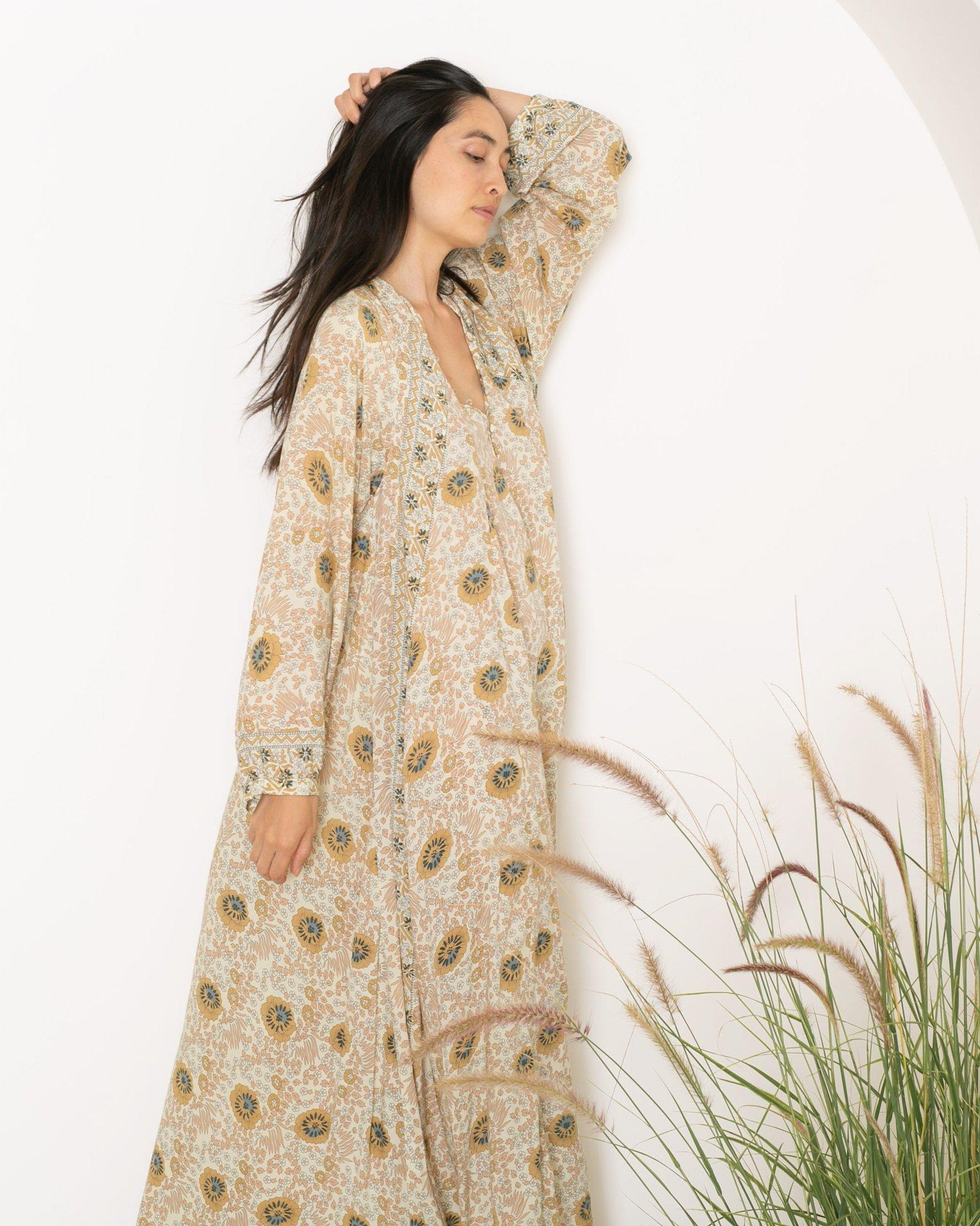 f283c4c78b3 Lyst - Natalie Martin Fiore Maxi Dress In Vintage Flowers Sand in Natural