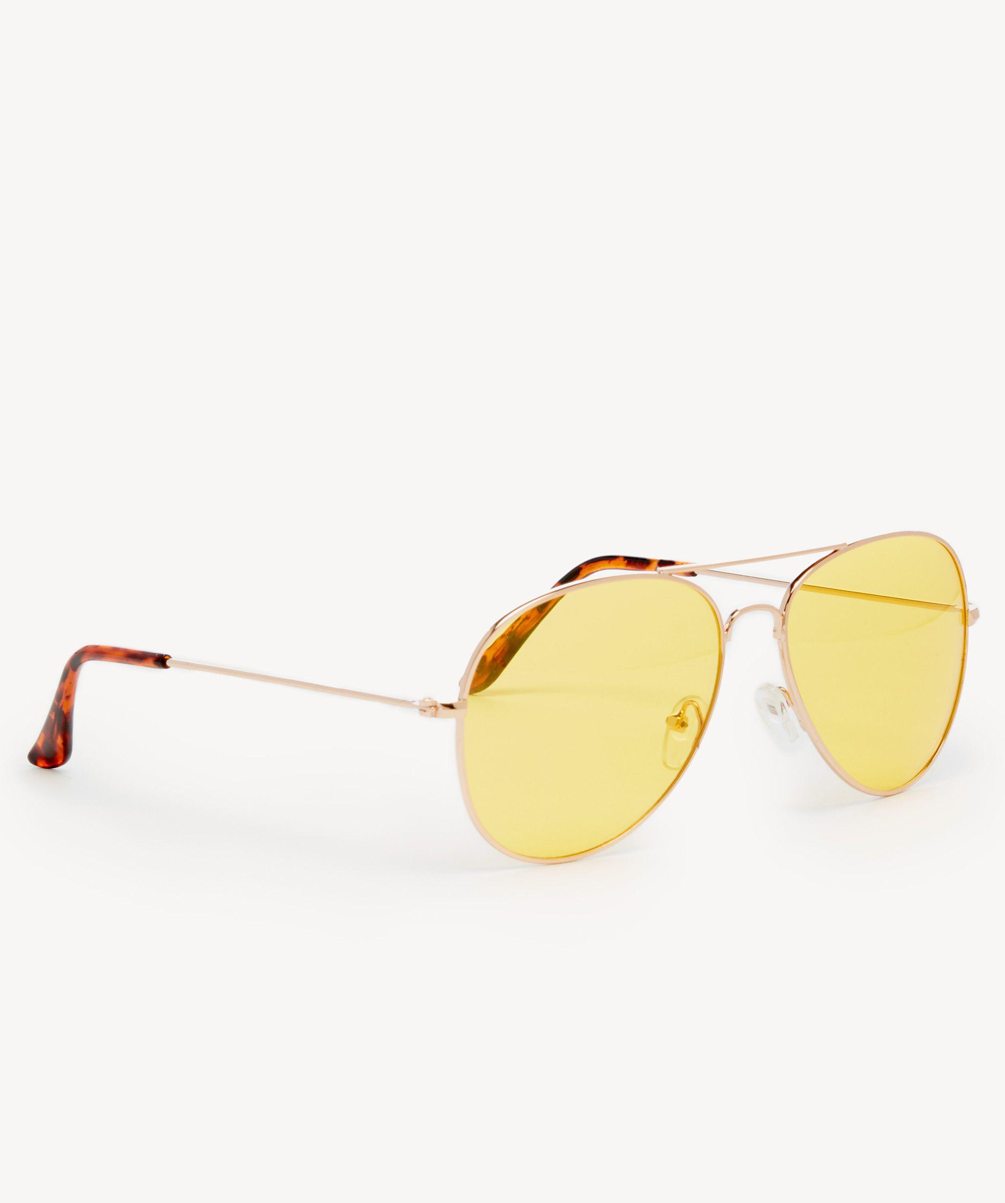 7de9dec9602 Lyst - Sole Society Lani Clear Lens Aviator Sunglasses in Metallic