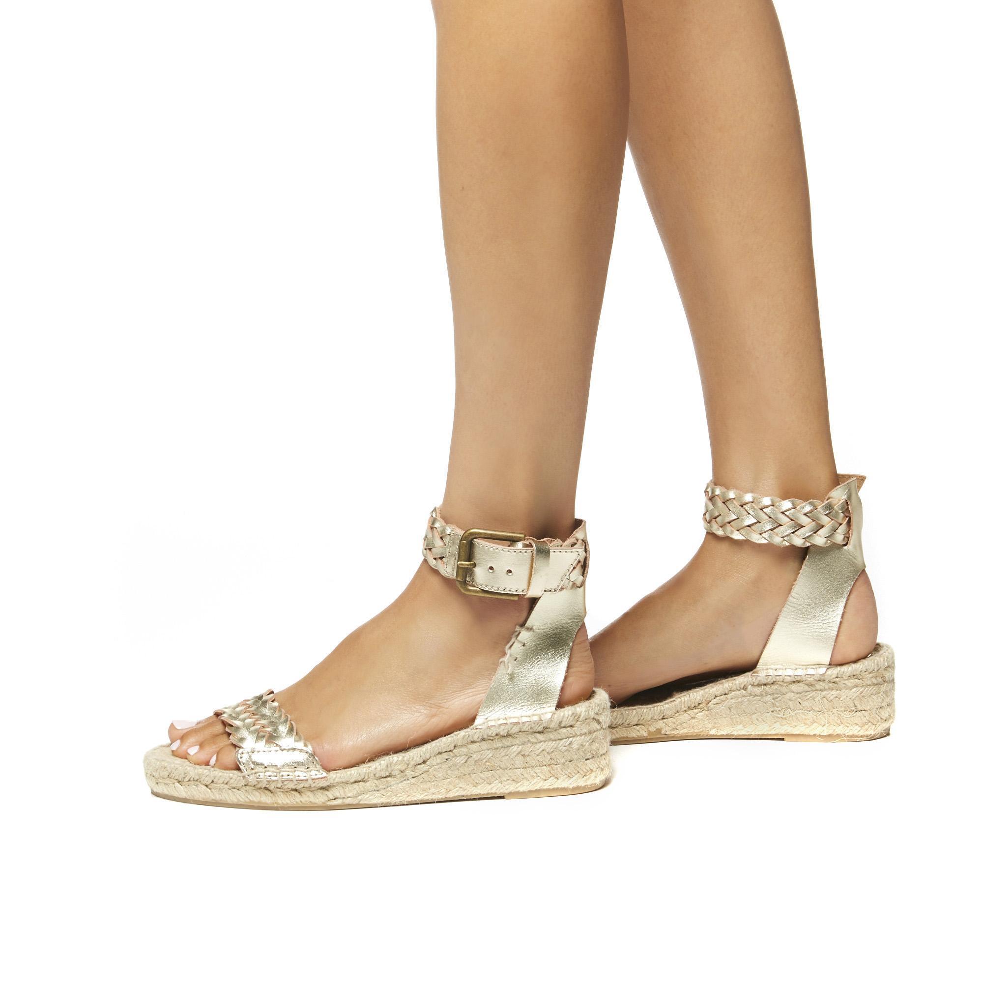 ae5ec0654df Soludos Metallic Woven Leather Demi Wedge Sandal in Metallic - Lyst