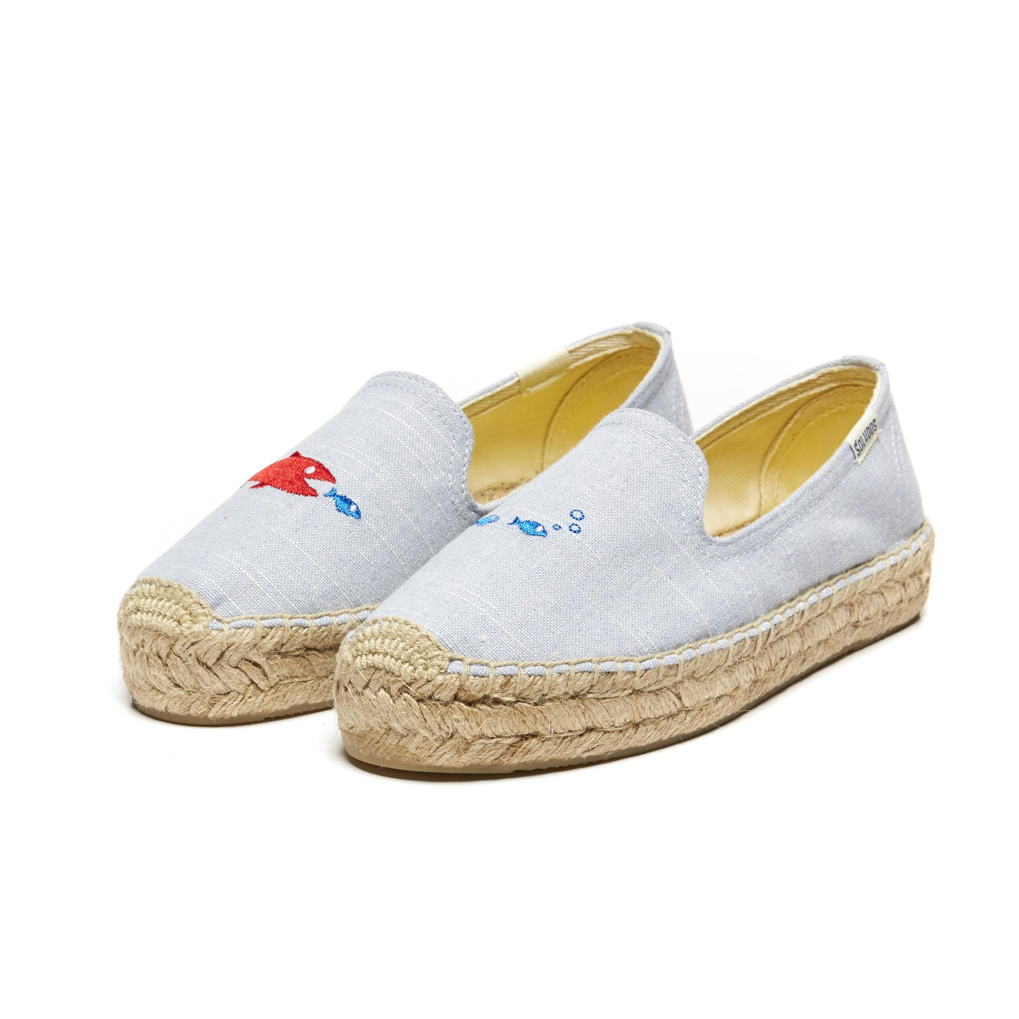 Lyst soludos mary matson hungry fish embroidered for Platform shoes with fish