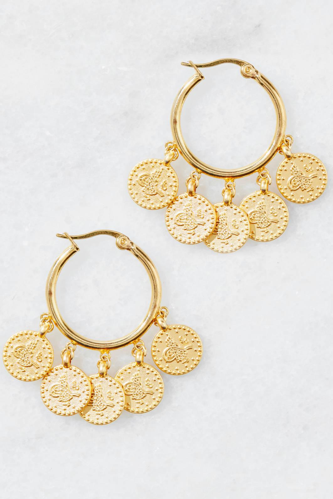 South Moon Under Crystal Double Circle Drop Earring Gold GSe83Hmsp