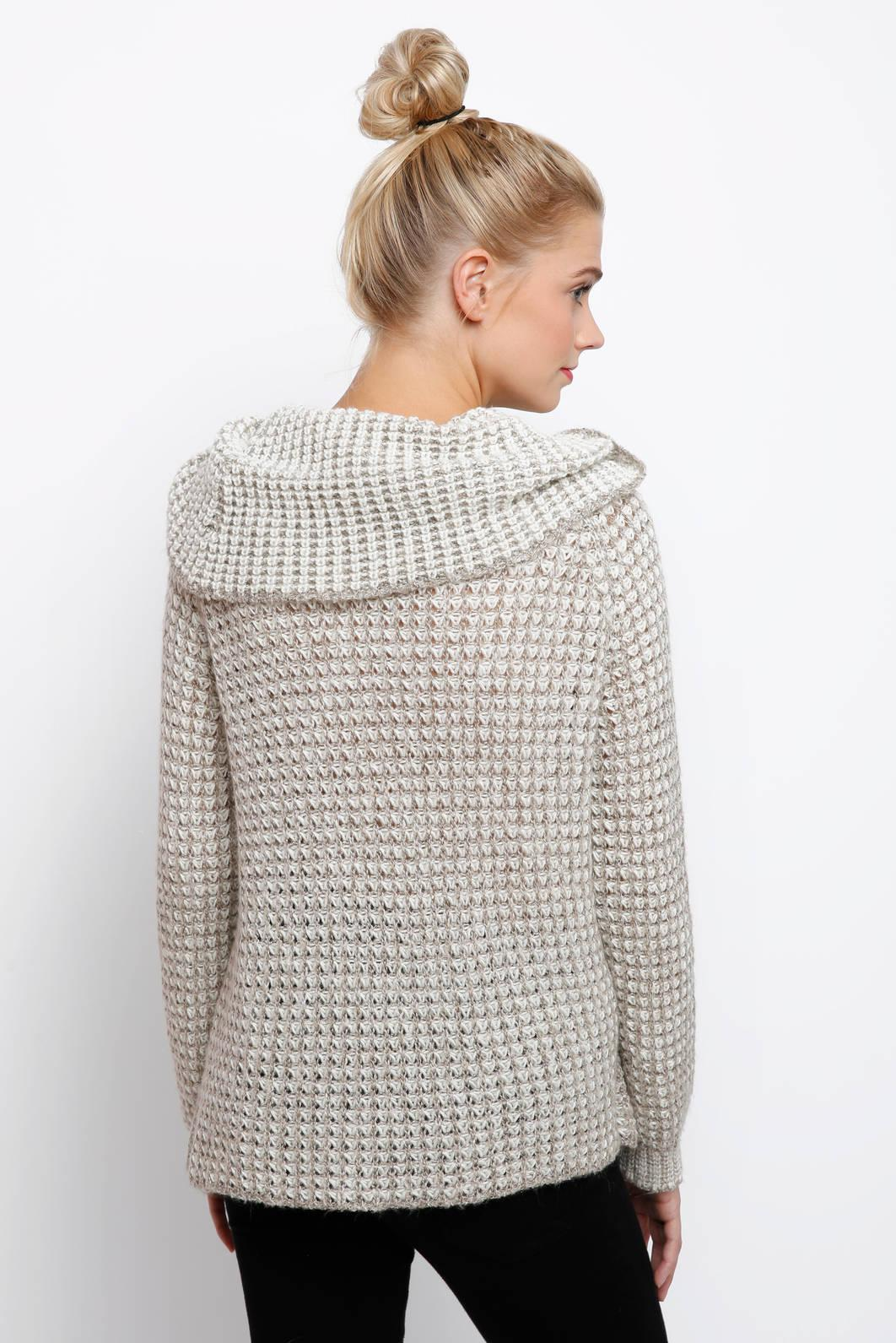Bb dakota Cowl Neck Marled Waffle Pullover Sweater in Natural | Lyst