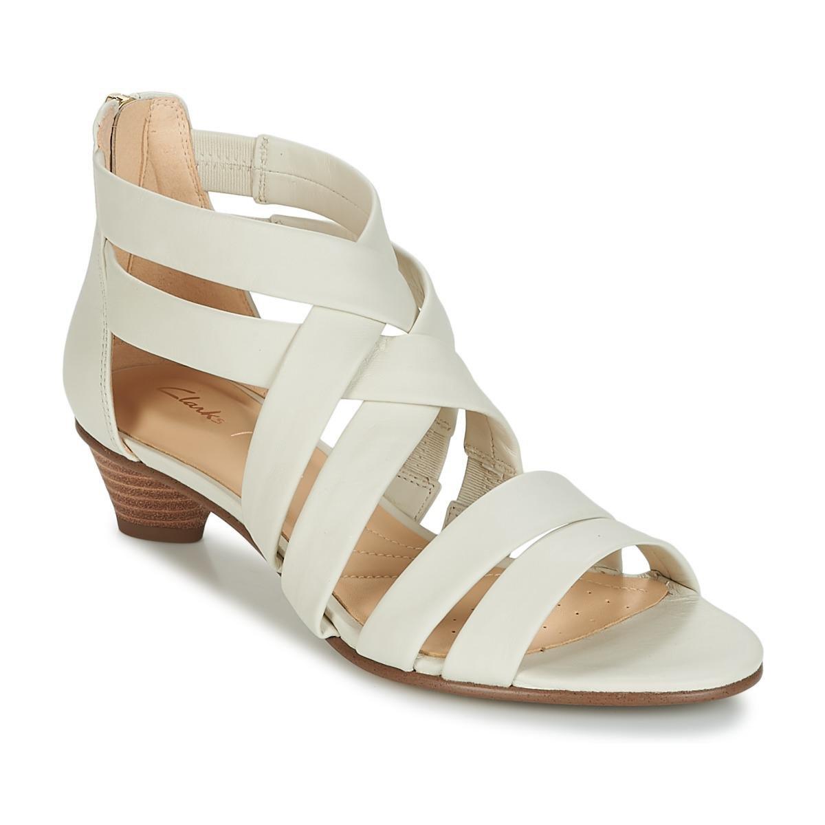 bc113b632dd Clarks Mena Silk Sandals in White - Lyst