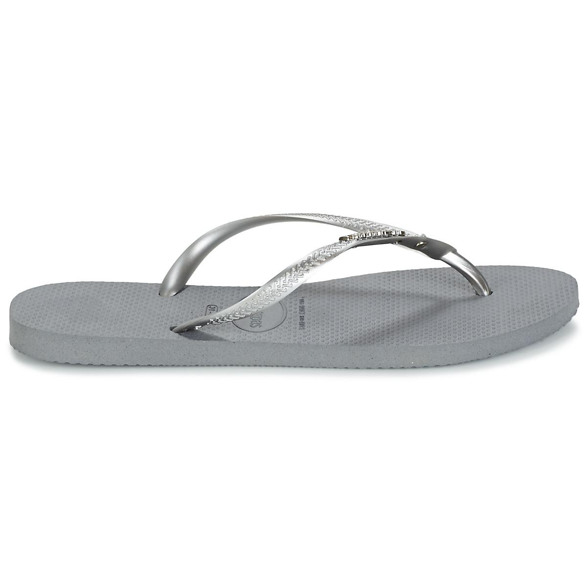 ac9afb08e86d4b Havaianas Slim Metal Logo And Crystal Women s Flip Flops   Sandals ...