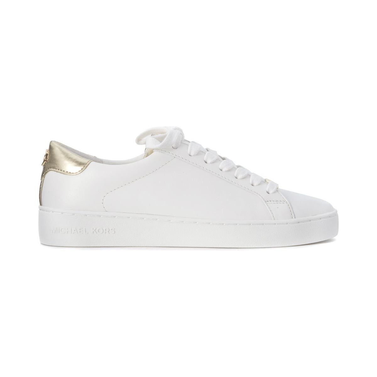 Michael Kors. Irving Lace Up Trainer In White And Gold Leather Women s Shoes  ... c75b3a691483