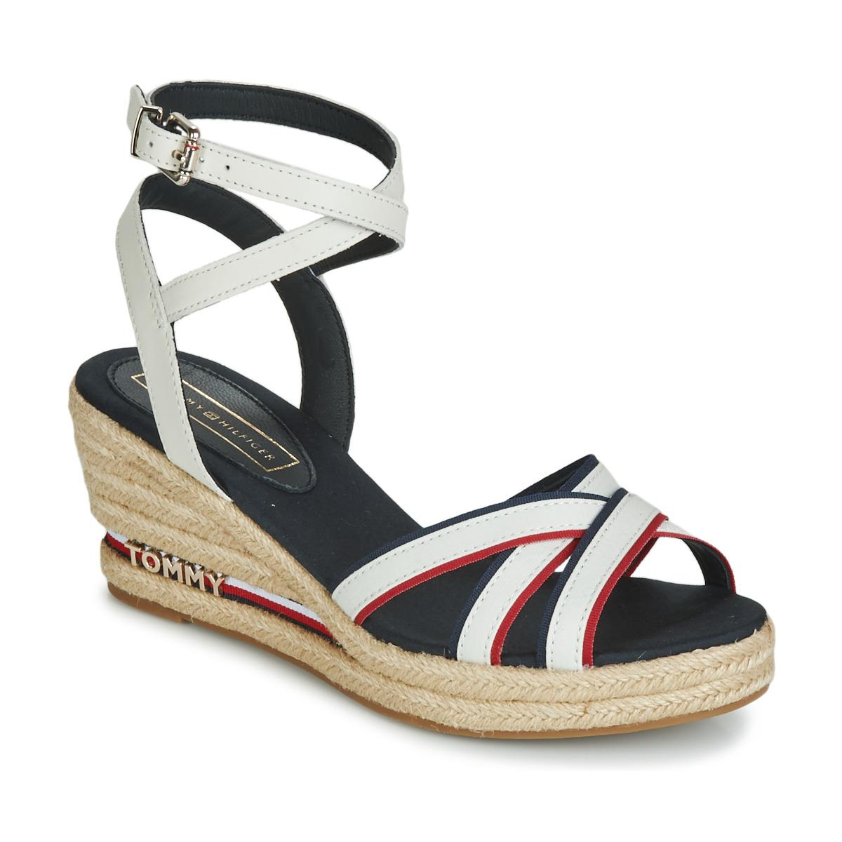 0b8b02a57 Tommy Hilfiger Iconic Elba Corporate Ribbon Women s Sandals In White ...