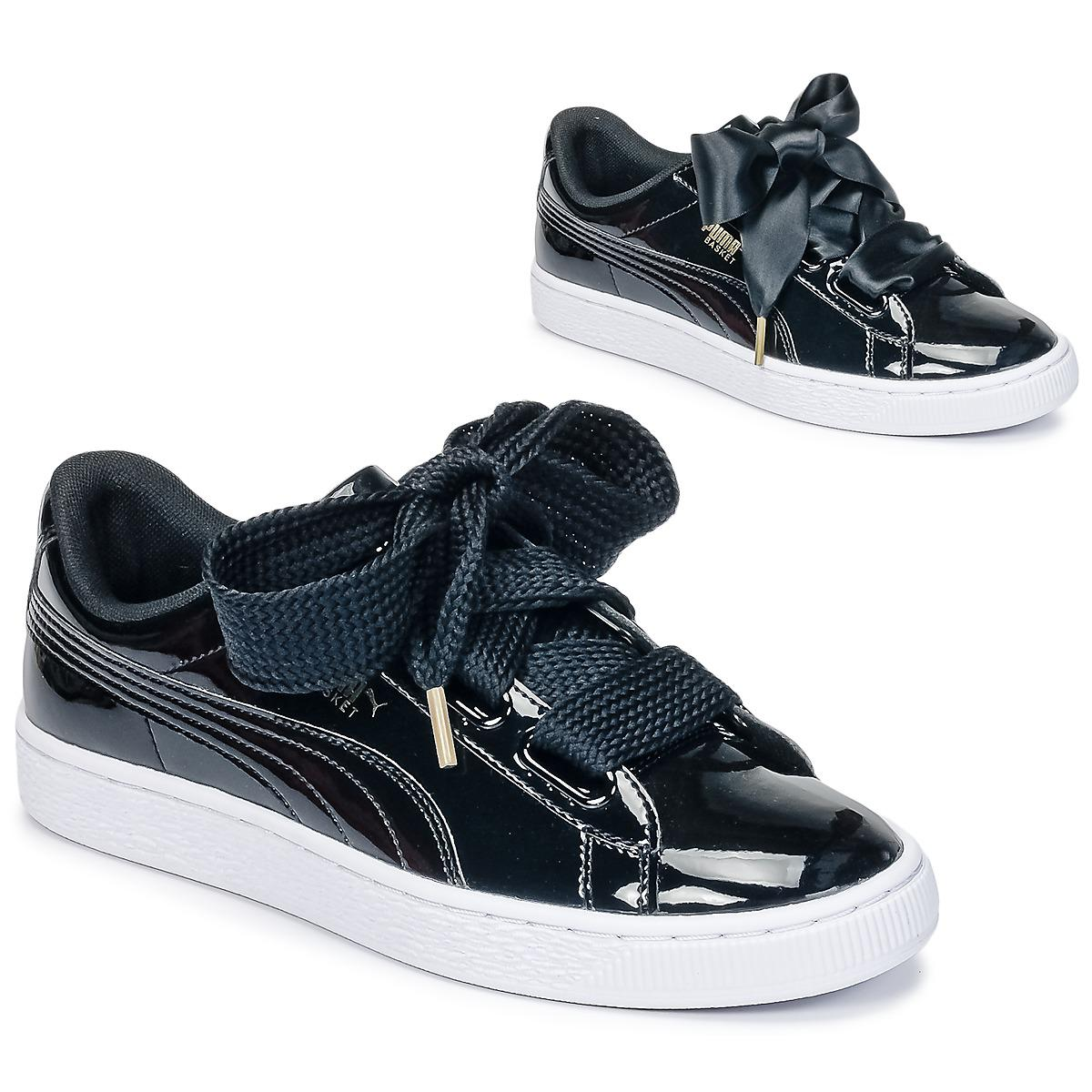 Puma basket heart patent womens shoes trainers in black jpg 1200x1200  Converse patent leather pumas b13db1e0c